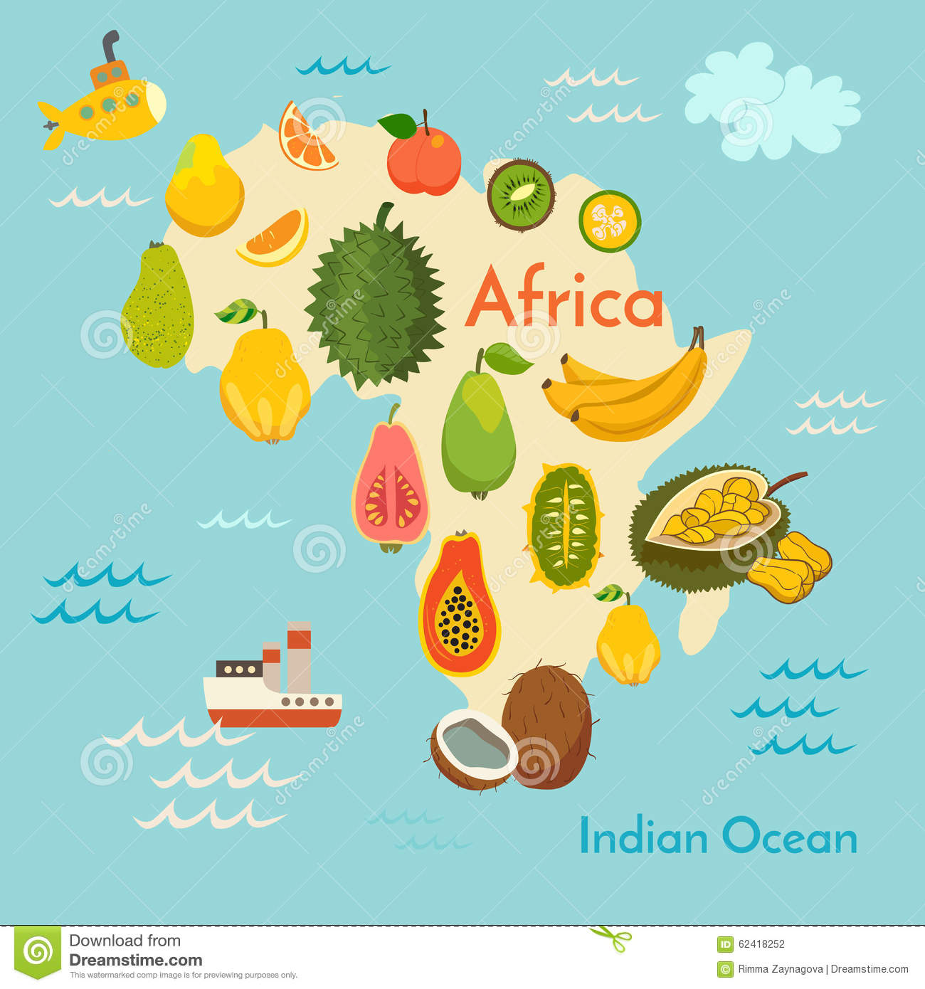 Fruit World Map Africa Illustration 62418252 Megapixl