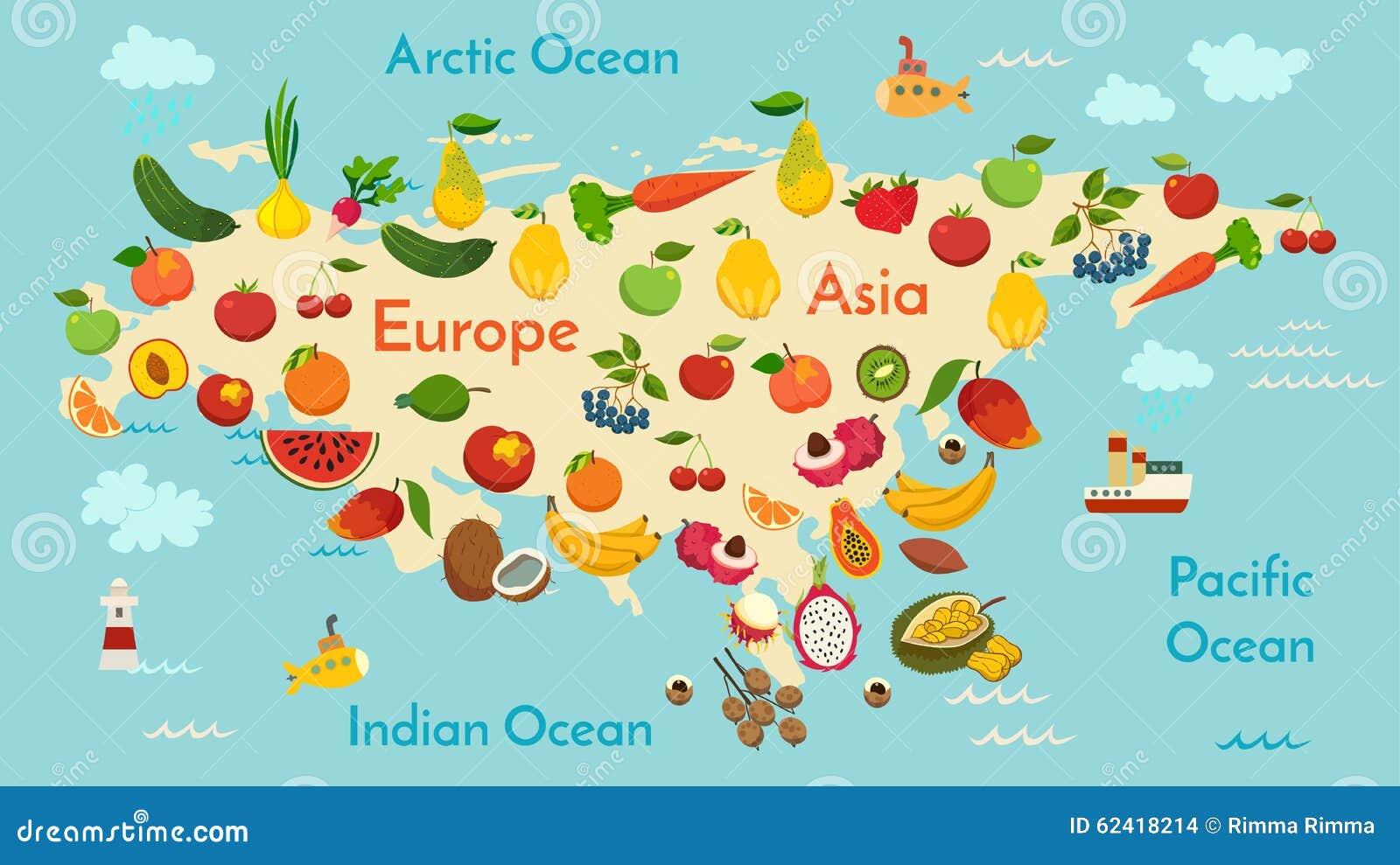 Fruit world map, Eurasia. stock vector. Illustration of africa