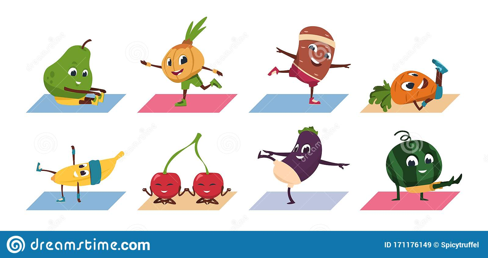Fruit Yoga Cartoon Vegetable Funny Characters Doing Yoga Poses And Sport Exercises Healthy Food And Fitness Workout Stock Vector Illustration Of Illustrations Characters 171176149