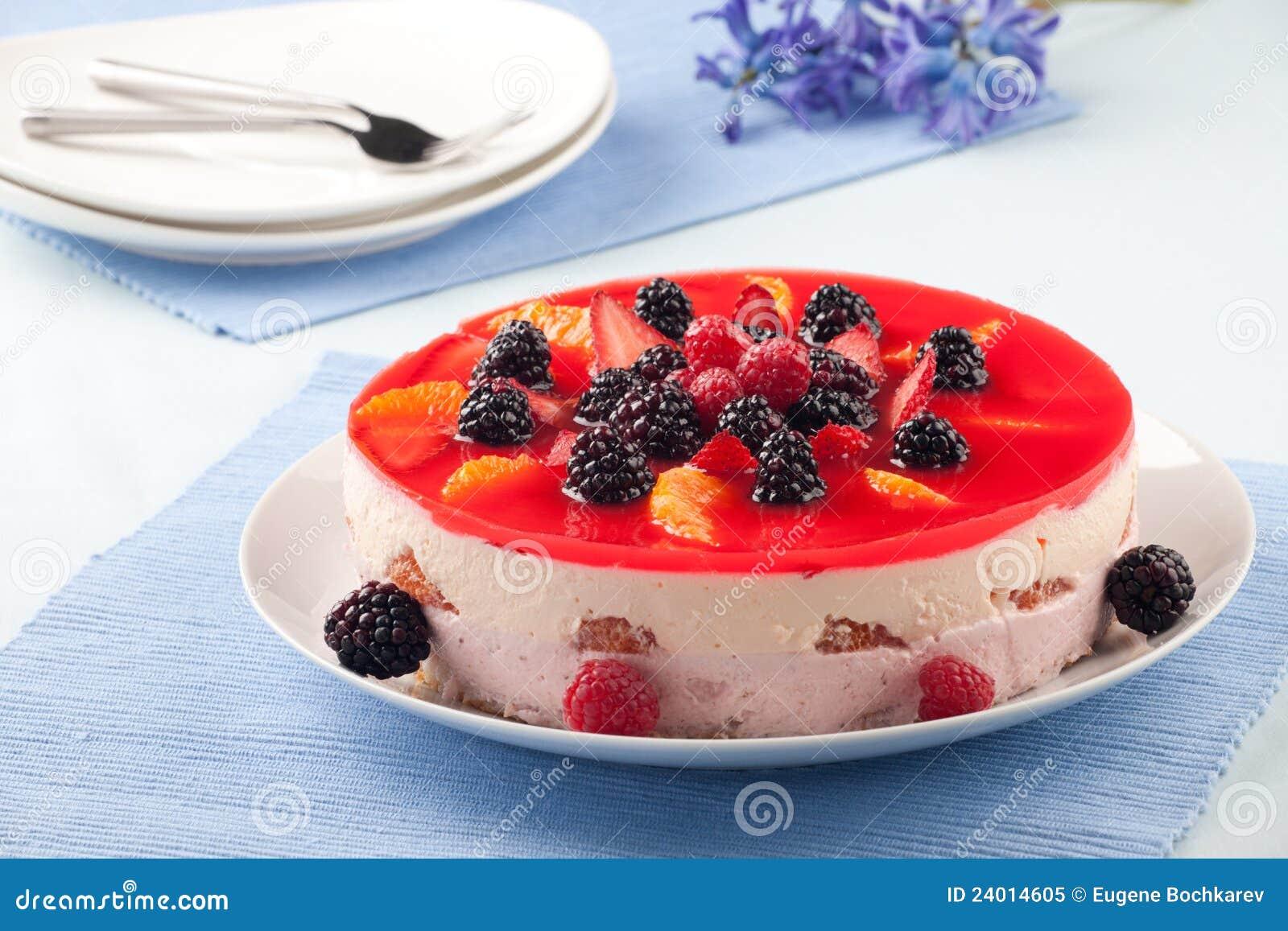 Cake With Fruit Yogurt : Fruit Yogurt Cake Royalty Free Stock Photo - Image: 24014605