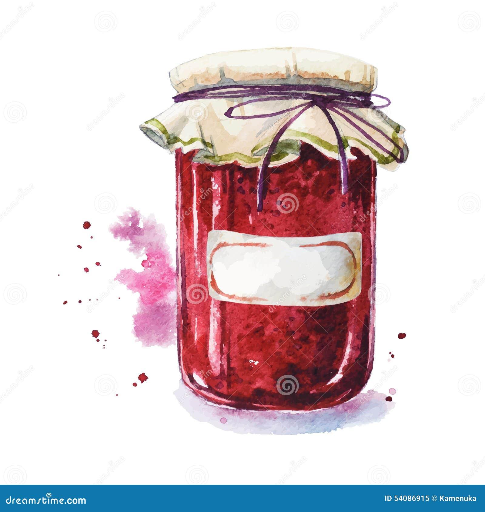 Fruitjam met een sticker Mason Jar watercolor Geschilderde hand