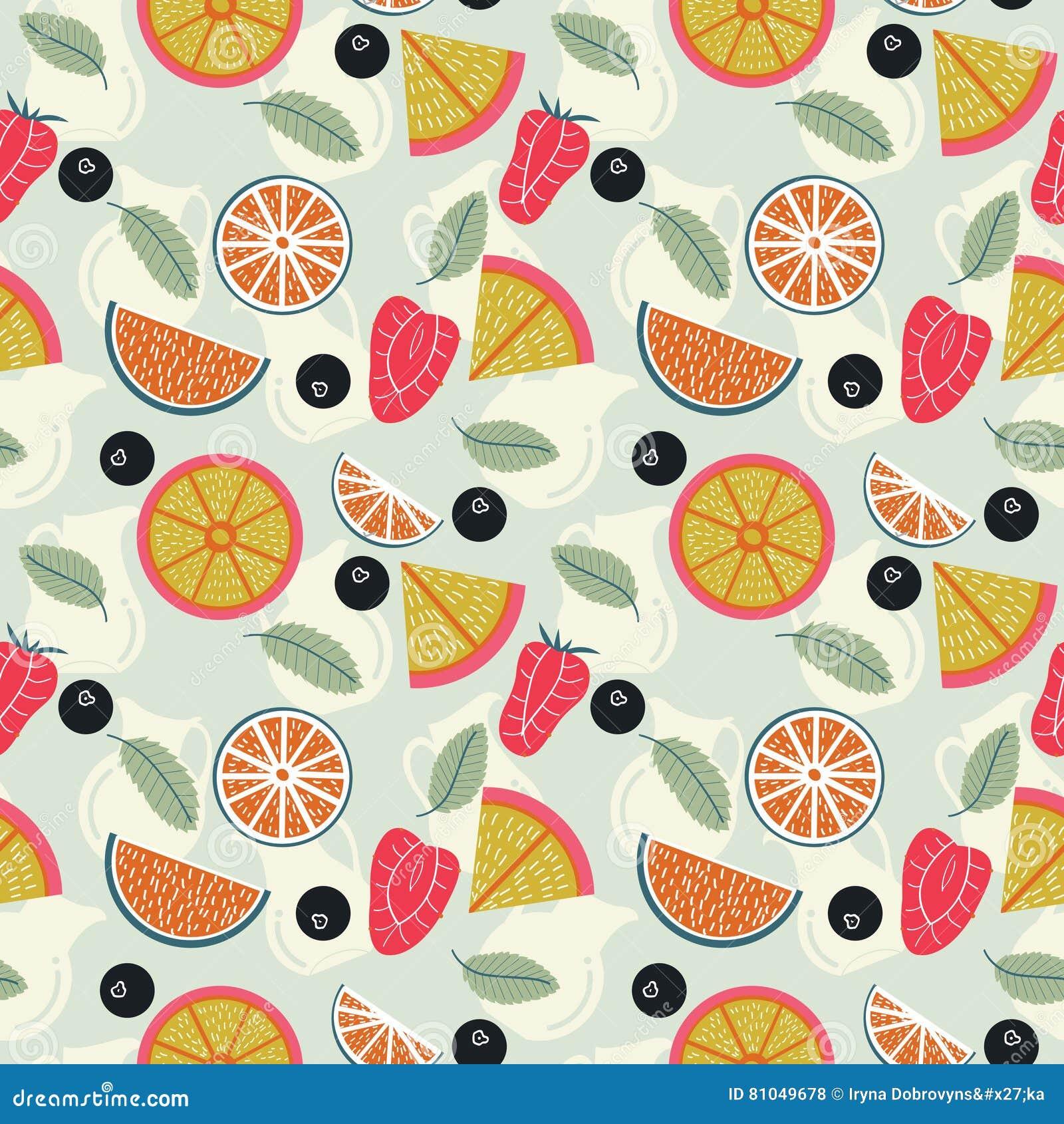Fruitlimonade met waterkruiken naadloos patroon