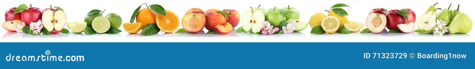 Fruits apple orange lemon nectarine apples oranges fruit in a row isolated on white