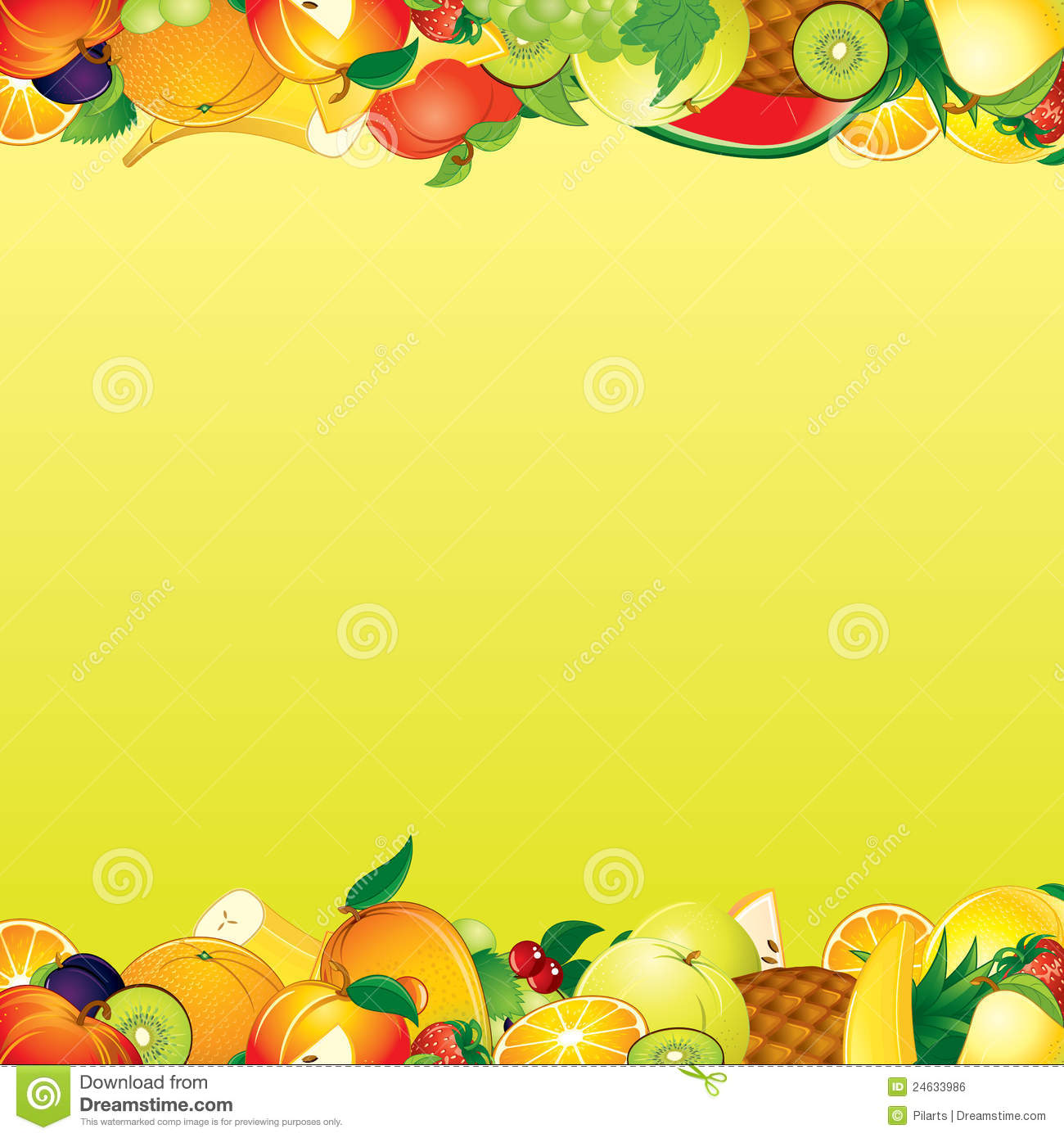 Fruits Background Stock Vector. Illustration Of Border
