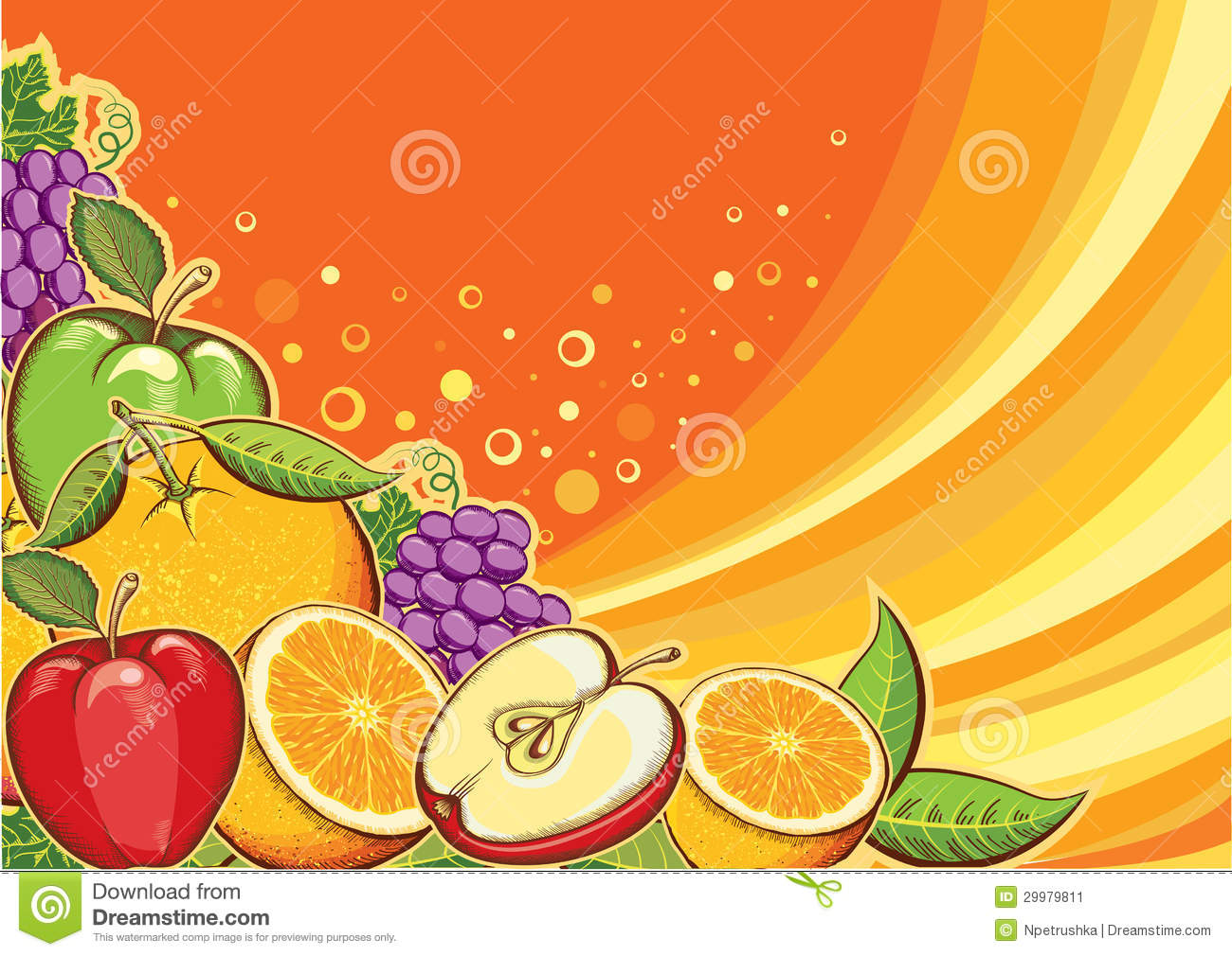 Fruits Background.Vector Color Illustration For De Stock Image - Image ...