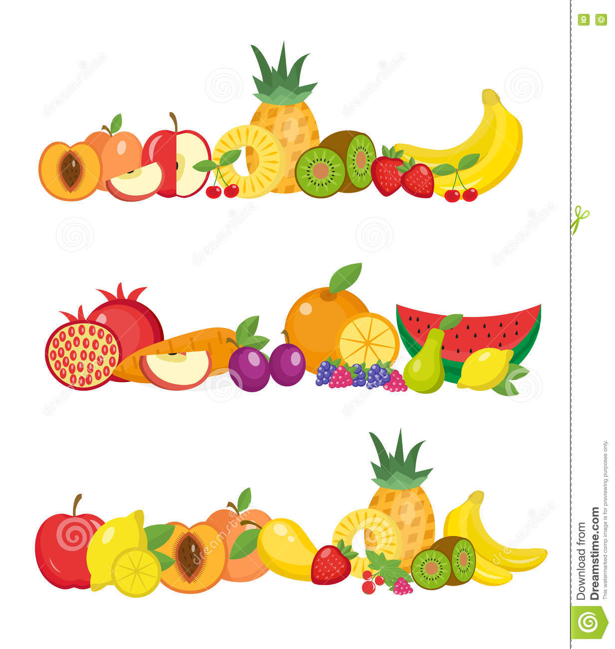 exotic tropical fruit banner poster template set stock vector