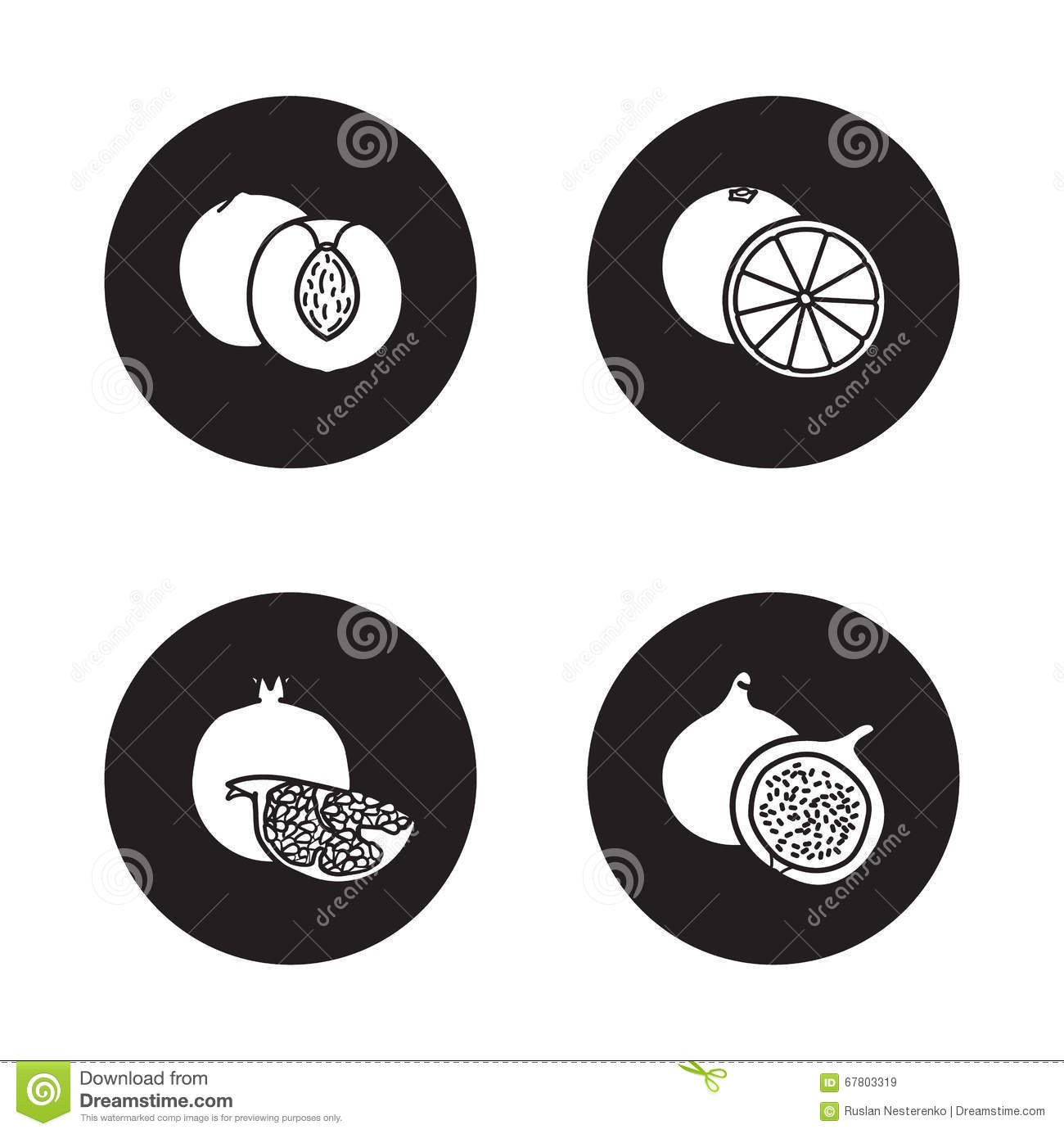 Fruits Black Icons Set Stock Vector Illustration Of Items 67803319