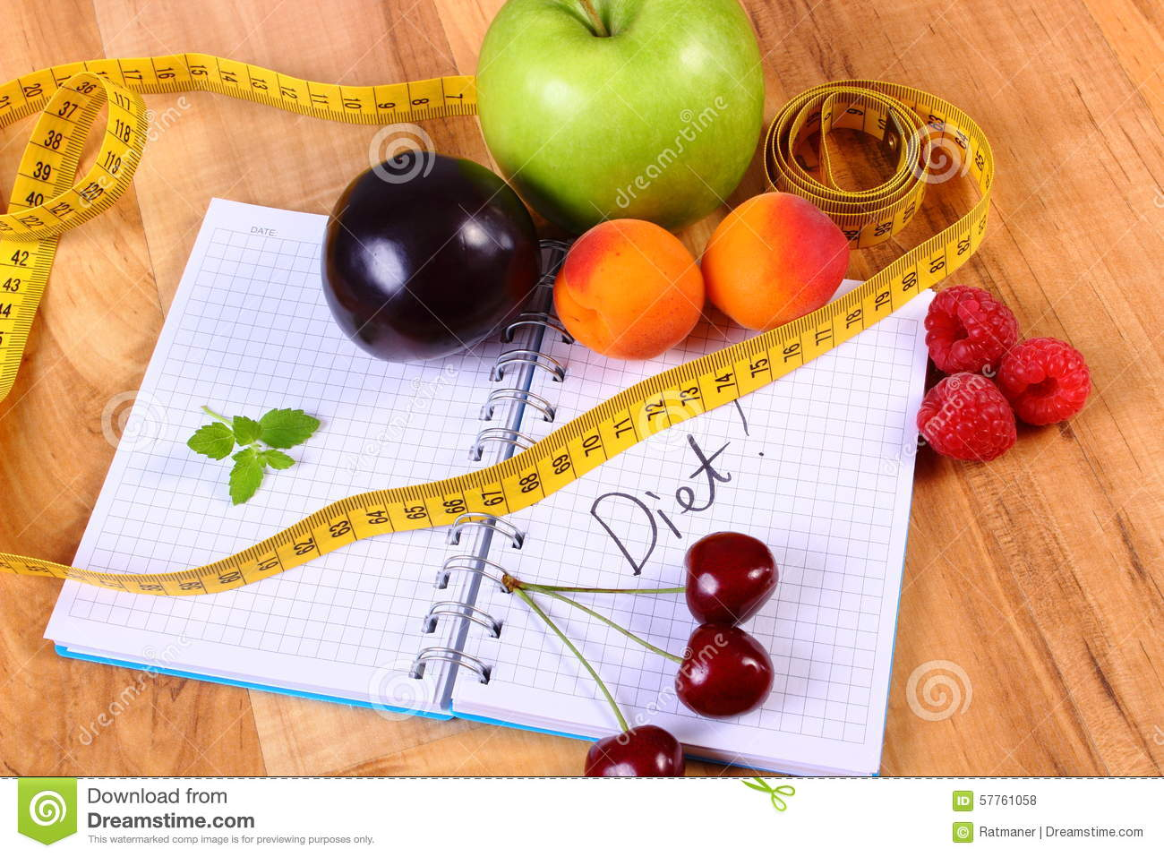 Fruits And Centimeter With Notebook, Slimming And Healthy ...