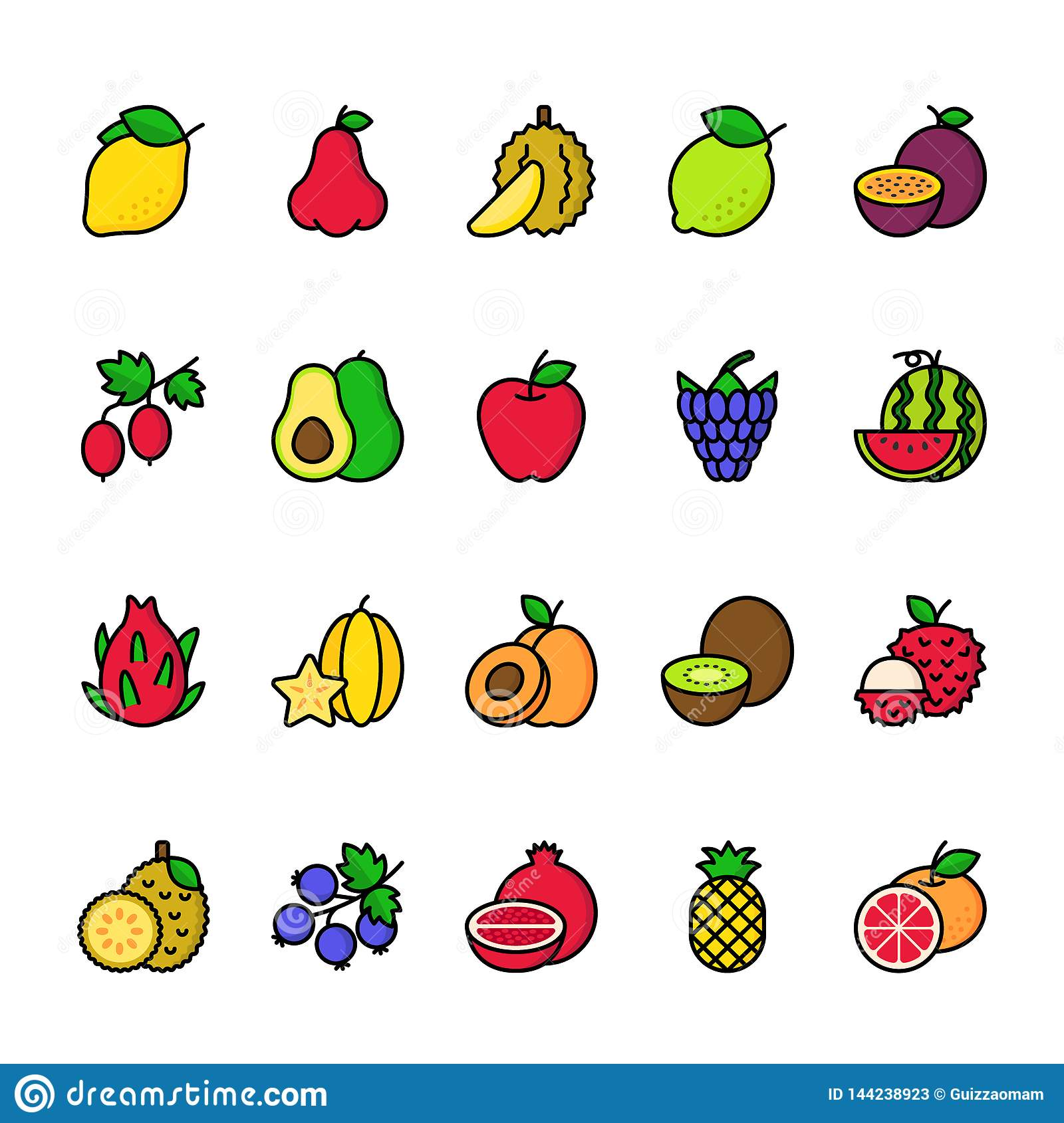 Color line icon set of Fruits