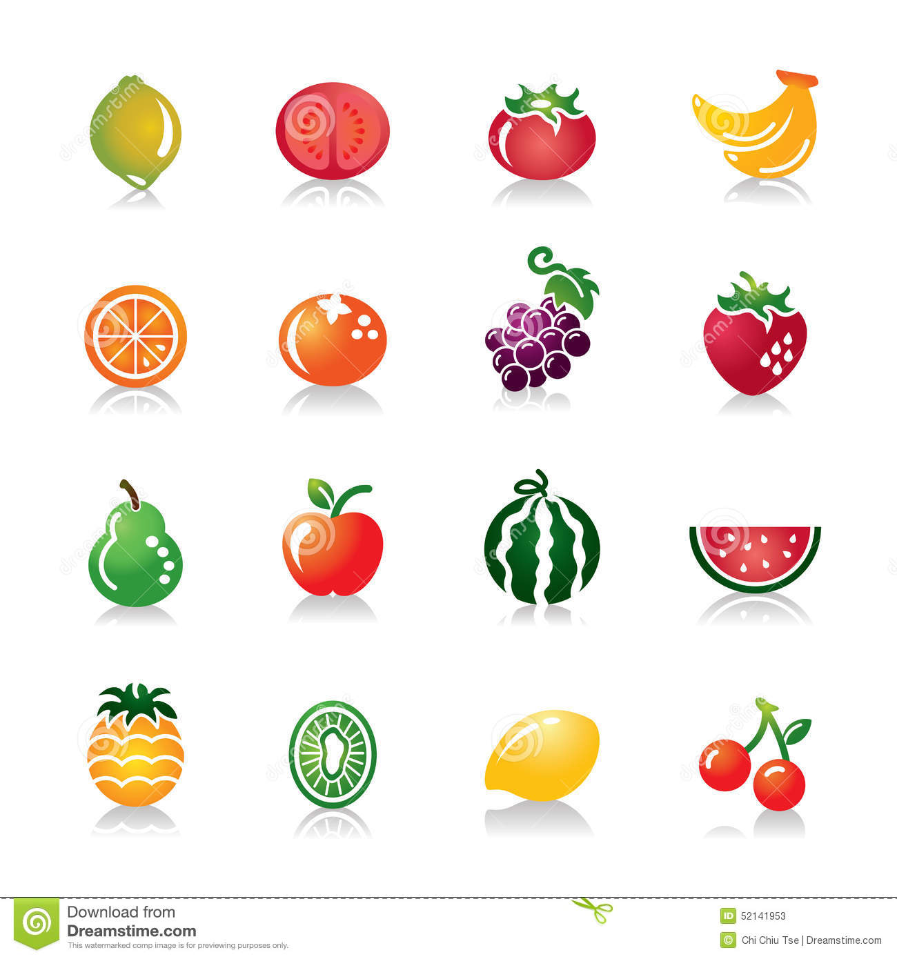 Stock Illustration Fruits Colorful Icons Collection Different Kinds Fruit Contains Hi Res Jpg Pdf Illustrator Files Image52141953 on Banana Clip Art