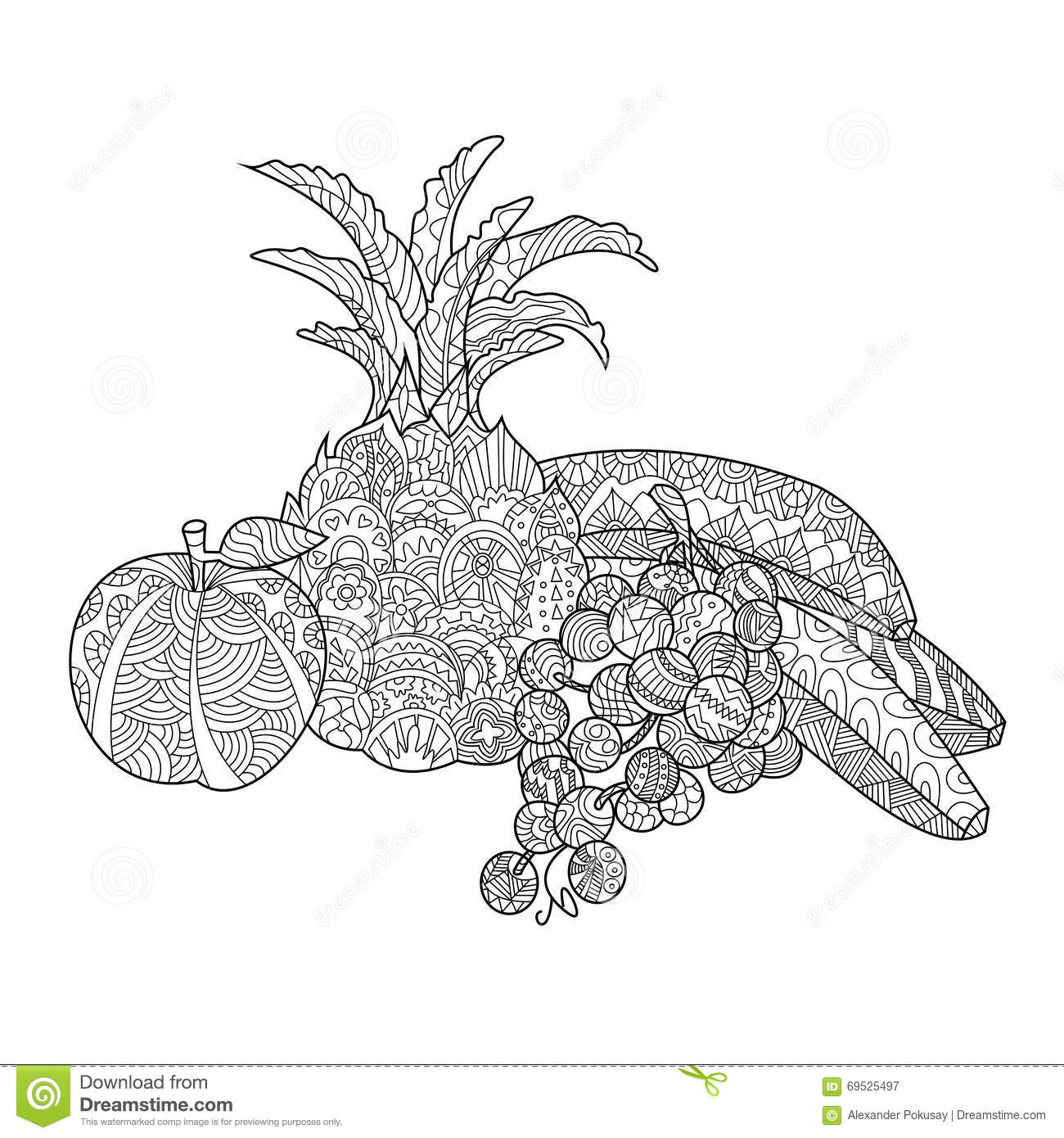 Still Life Coloring Book Antistress Style Cartoon Vector