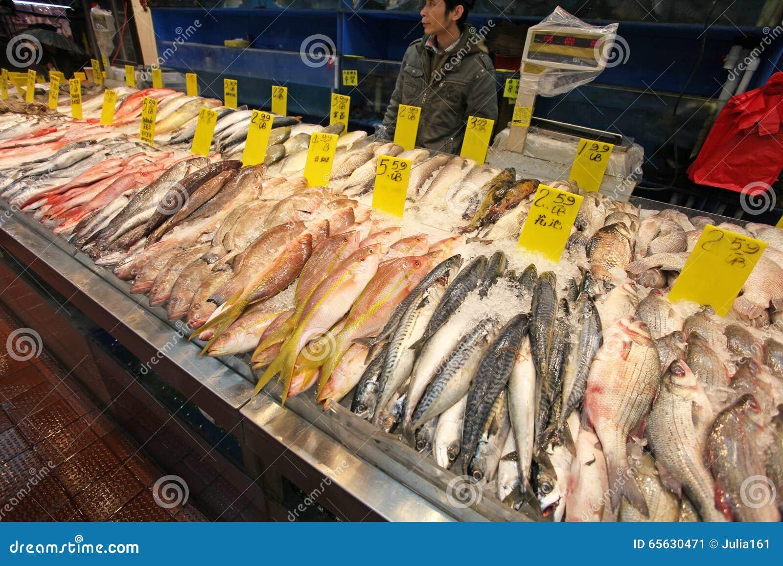 Fruits de mer sur le marché de ville de la Chine, NYC, Etats-Unis