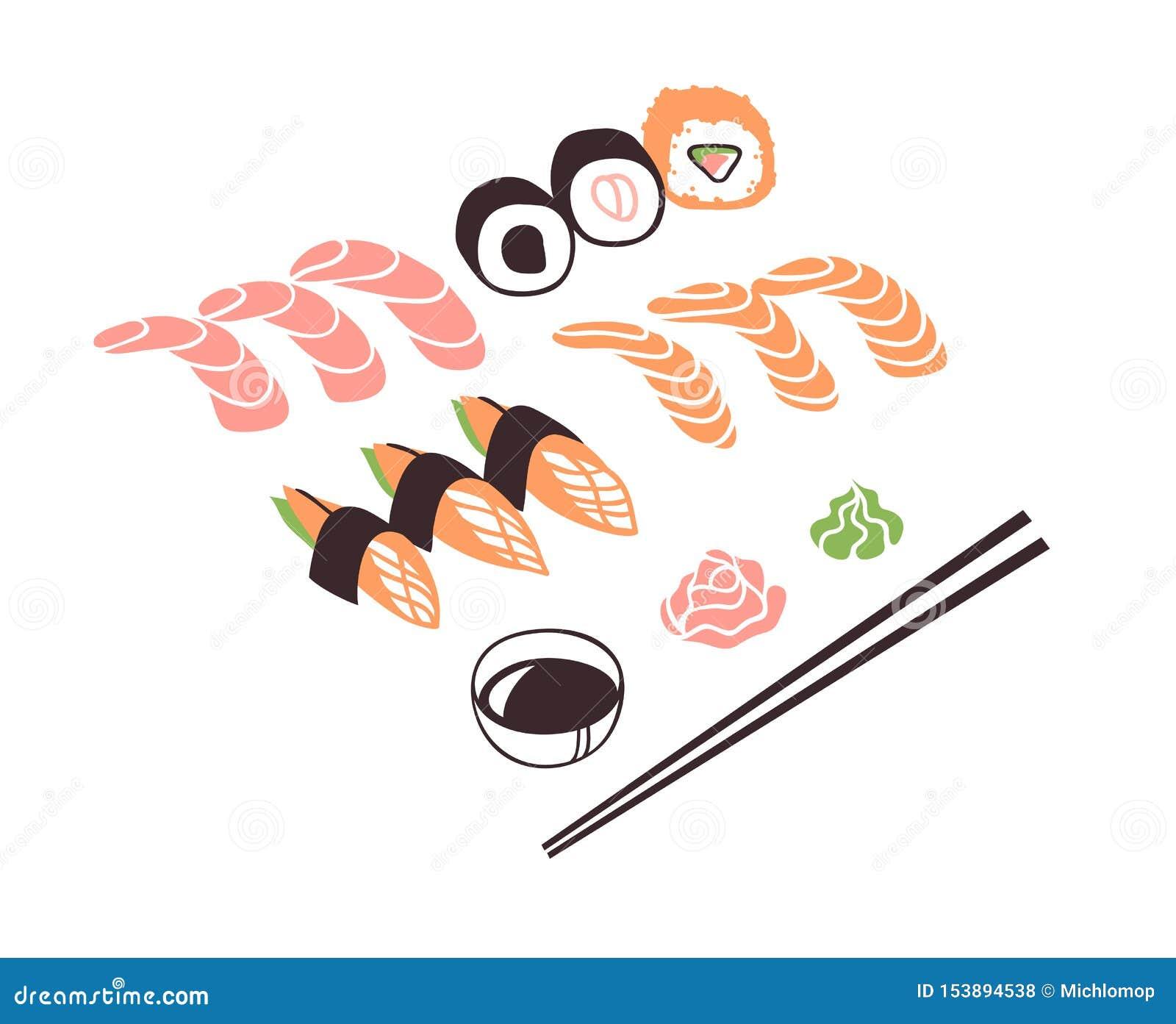 Fruits de mer tirés par la main d illustration Dîner asiatique créatif d oeuvre d art d encre Petit pain de sushi de dessin de ve