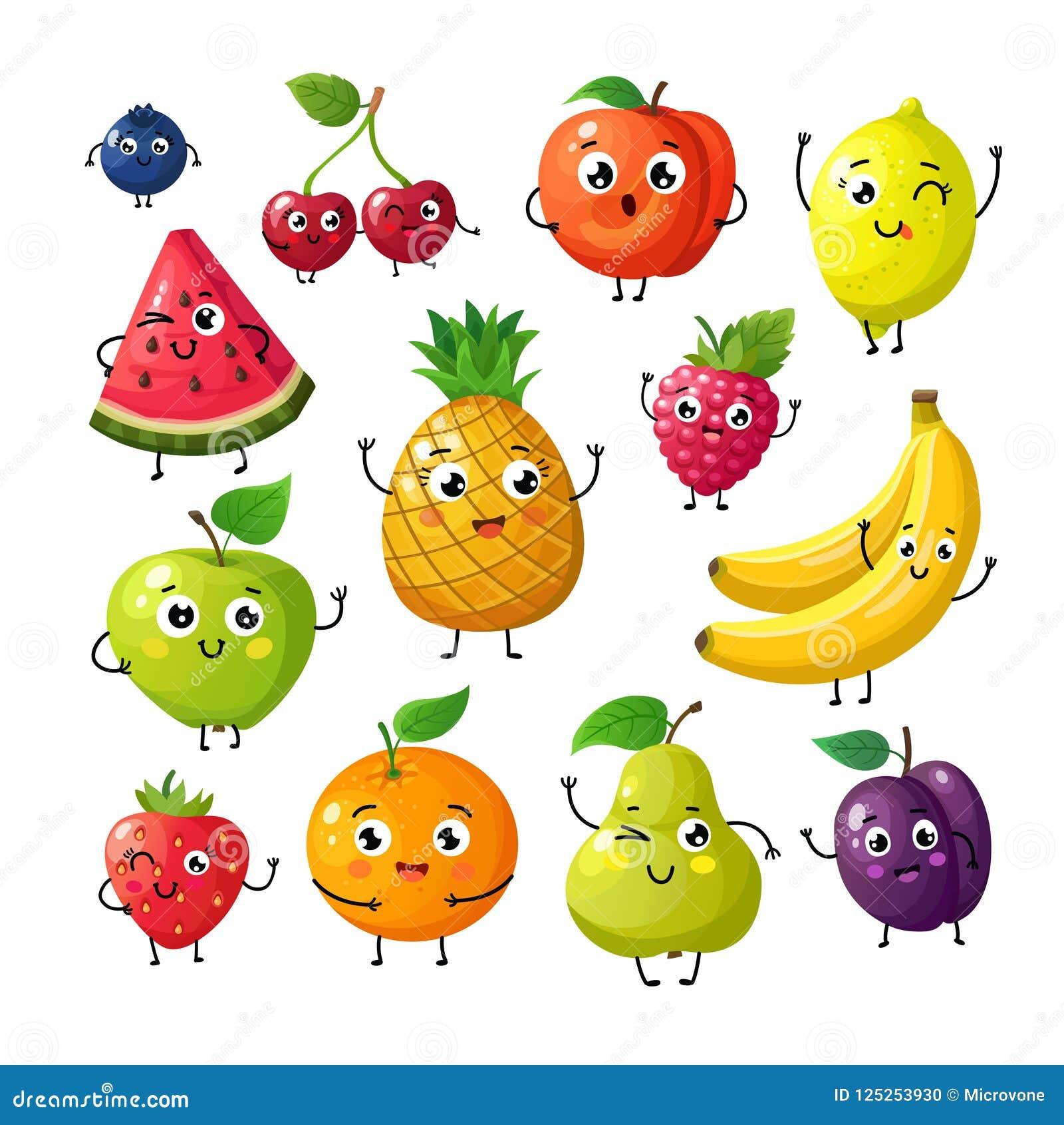 Fruits drôles de bande dessinée Cerise orange de kiwi de framboise heureuse de banane avec le visage Caractères de vecteur de fru