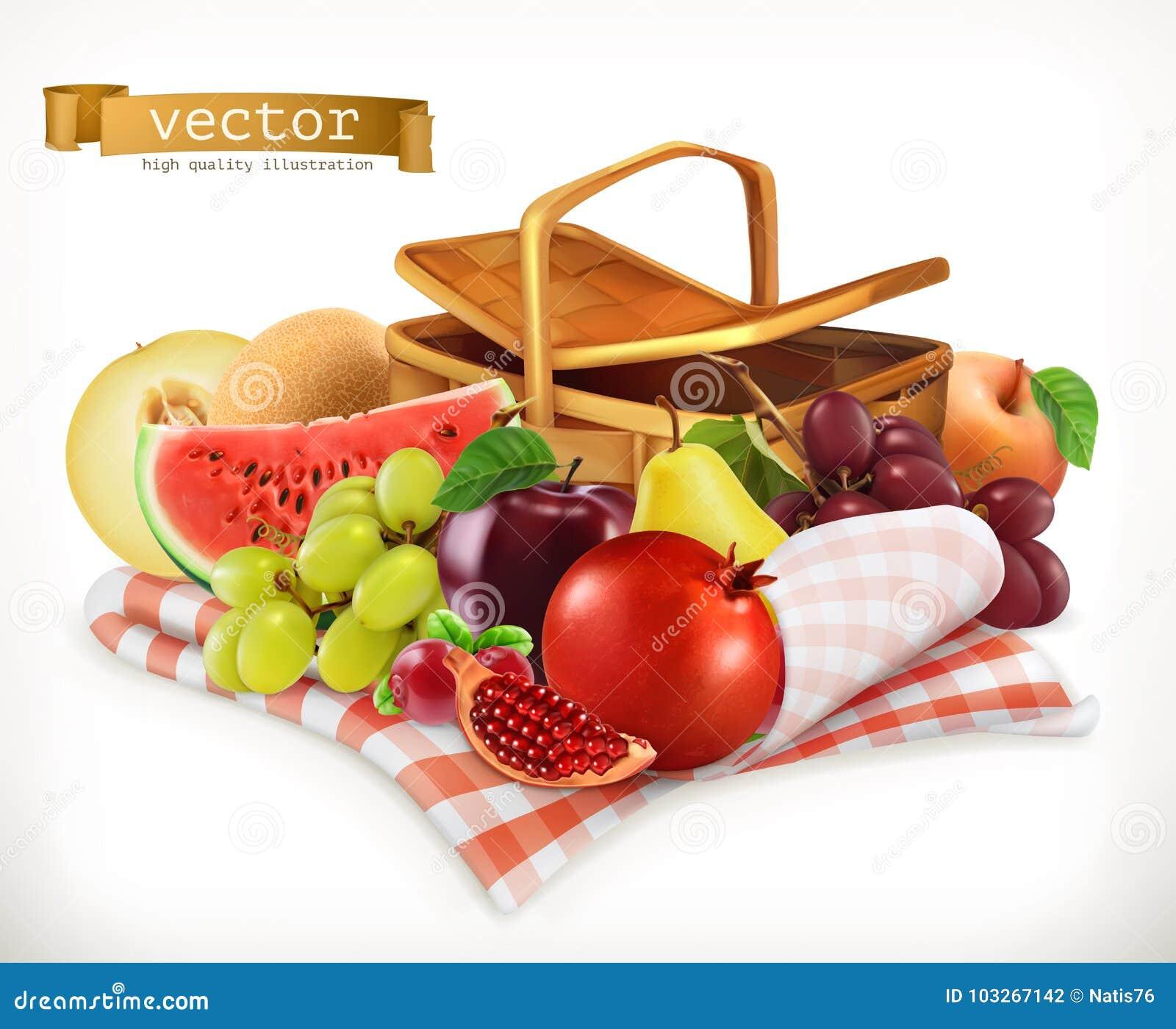 Fruits et baies de récolte Icône réaliste du vecteur 3d