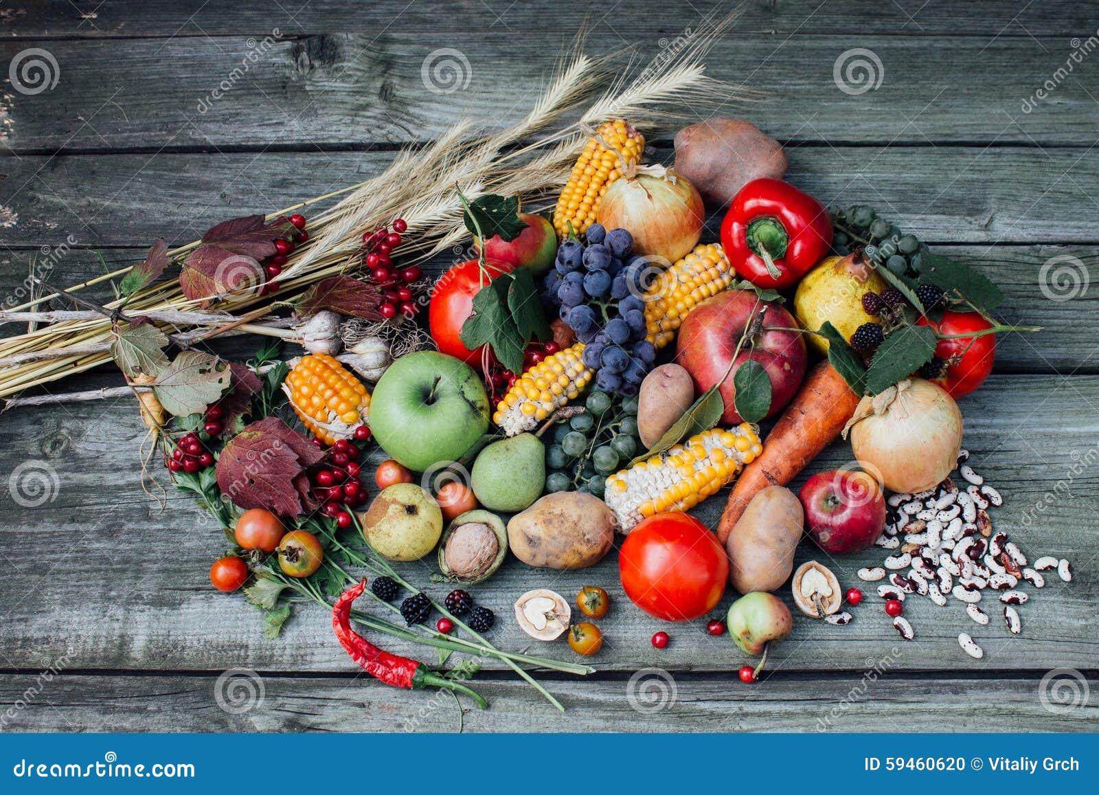Fruits et l gumes de r colte d 39 automne photo stock image 59460620 - Fruits et legumes de a a z ...