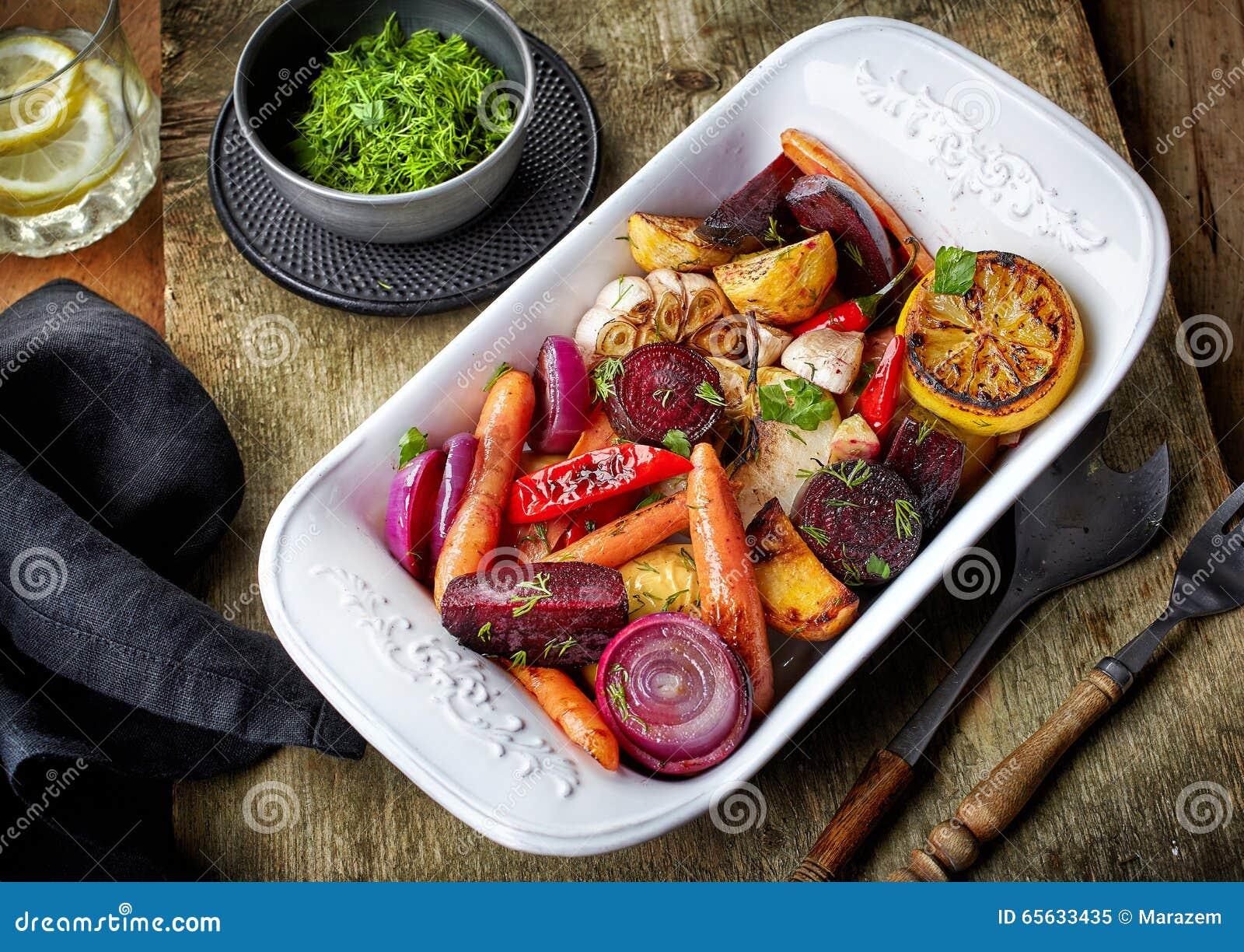 Fruits et légumes rôtis