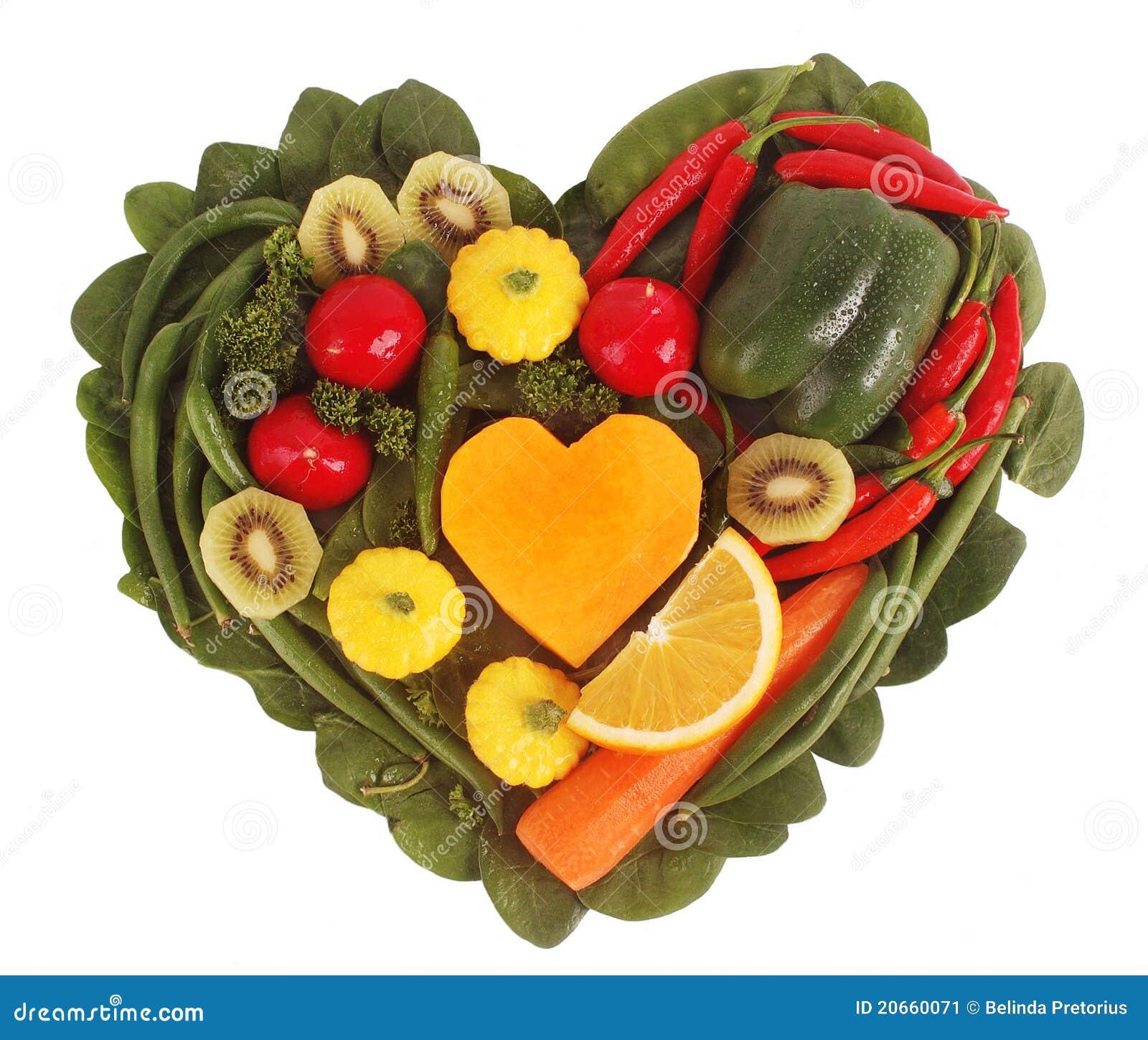 Fruits et l gumes dans une forme de coeur image stock image 20660071 - Fruits et legumes de a a z ...