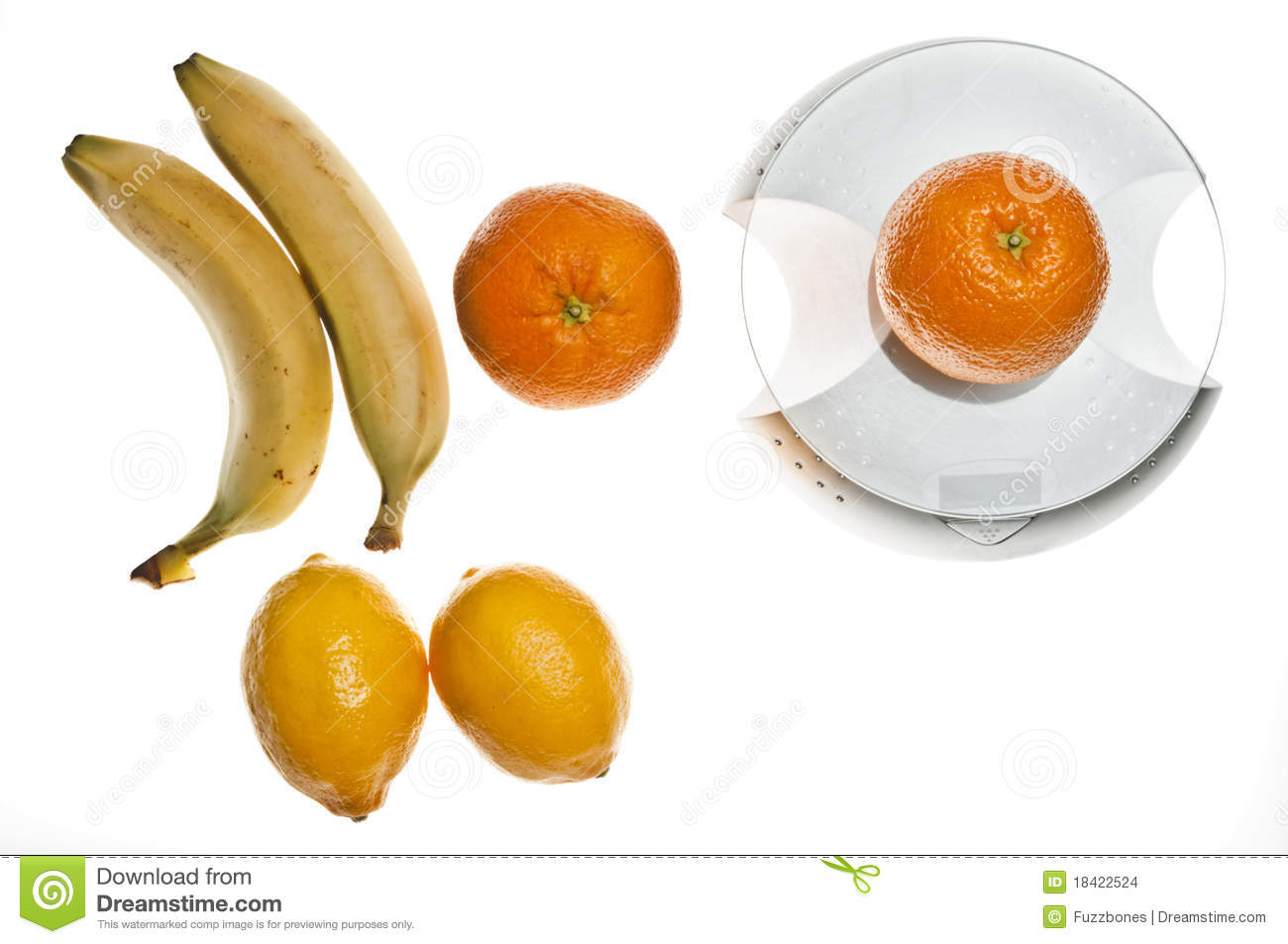 Fruits on food scale