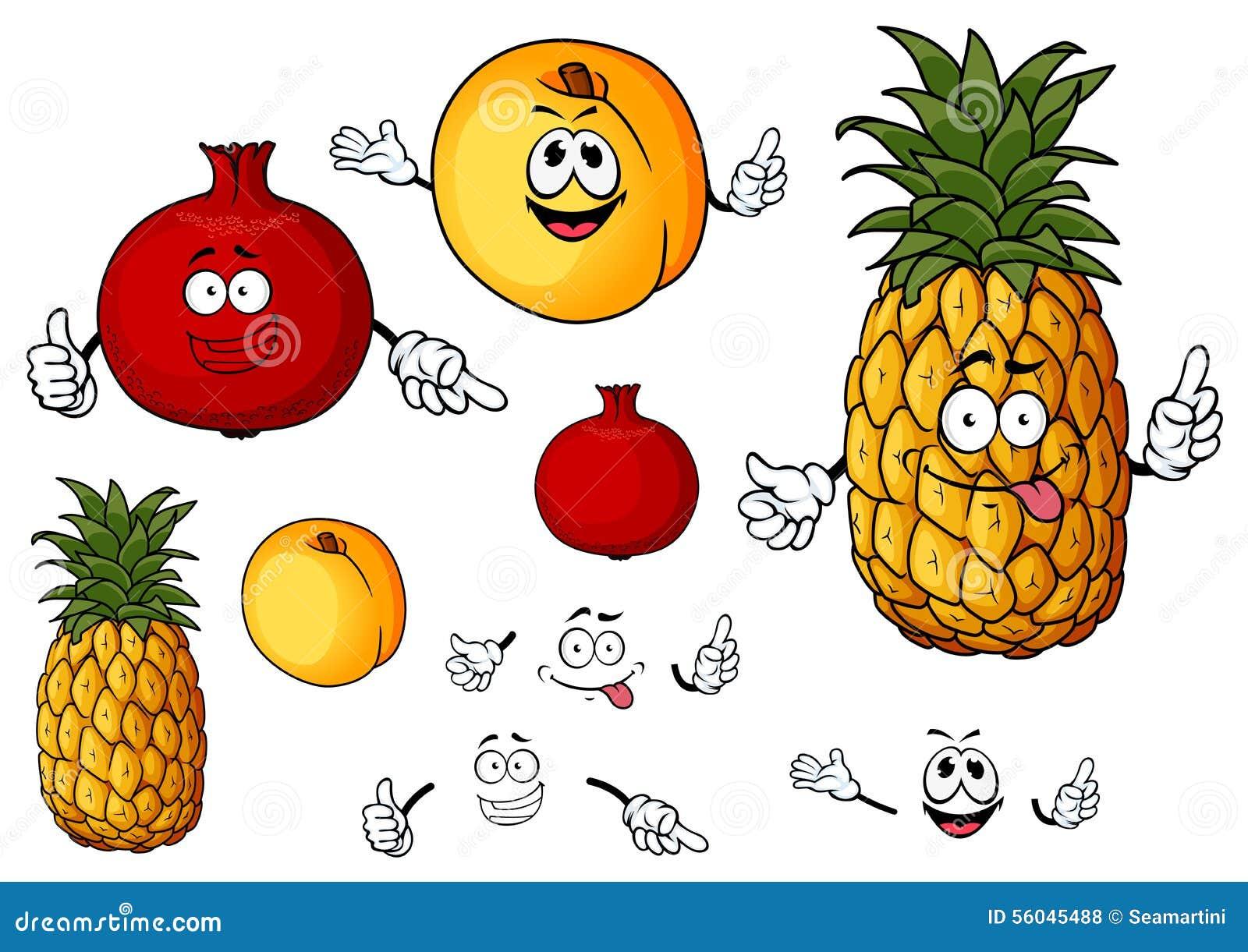 Fruits frais de p che d 39 ananas et de grenade illustration de vecteur image 56045488 - Grenade fruit dessin ...
