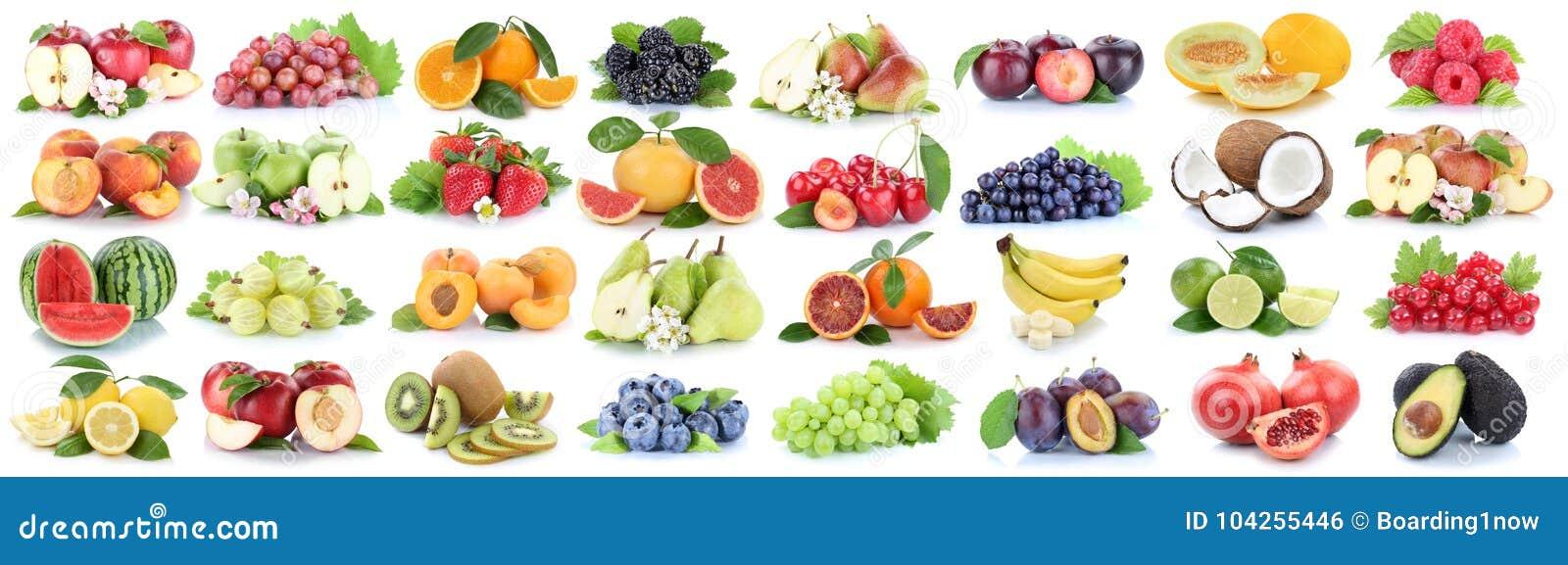 Fruits fruit collection fresh orange apple lemon berries isolate