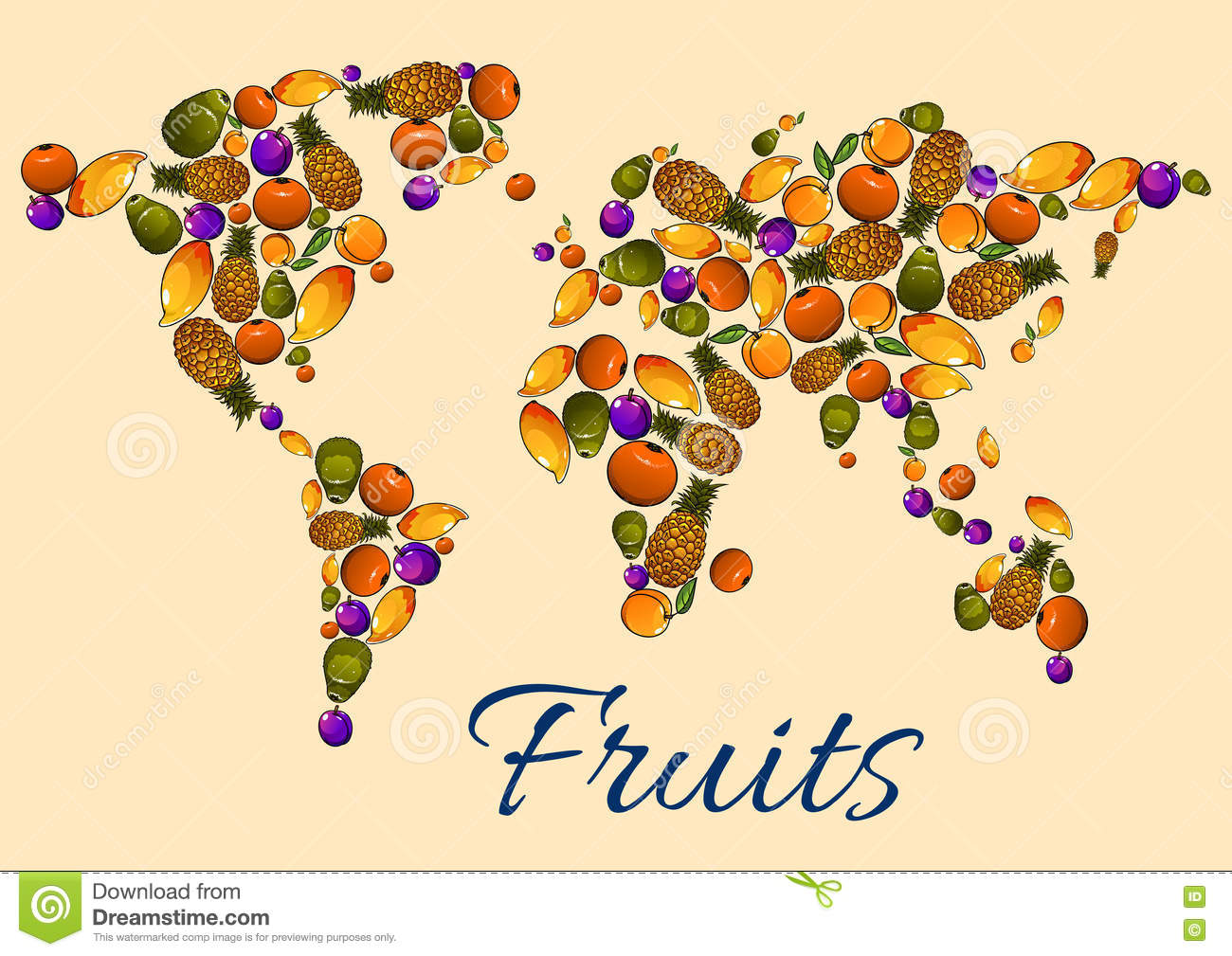 fruits icons in world map stock vector illustration of