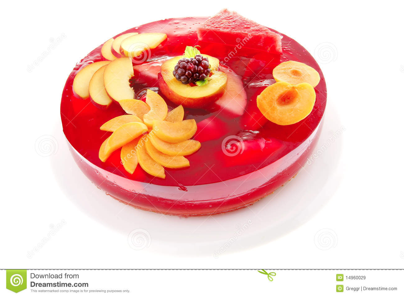 Red Jelly Cake Recipe: Fruits Jelly Cake And Nectarine Royalty Free Stock Images