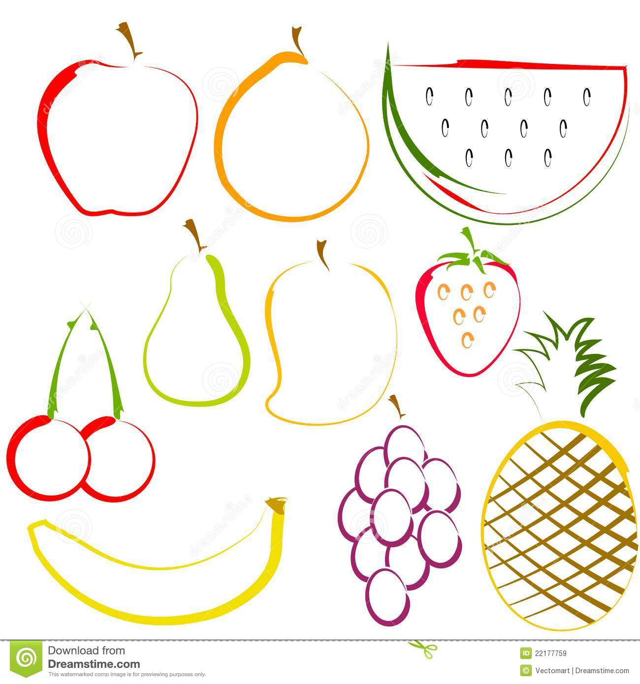 Line Art Fruits : Fruits in line art royalty free stock images image