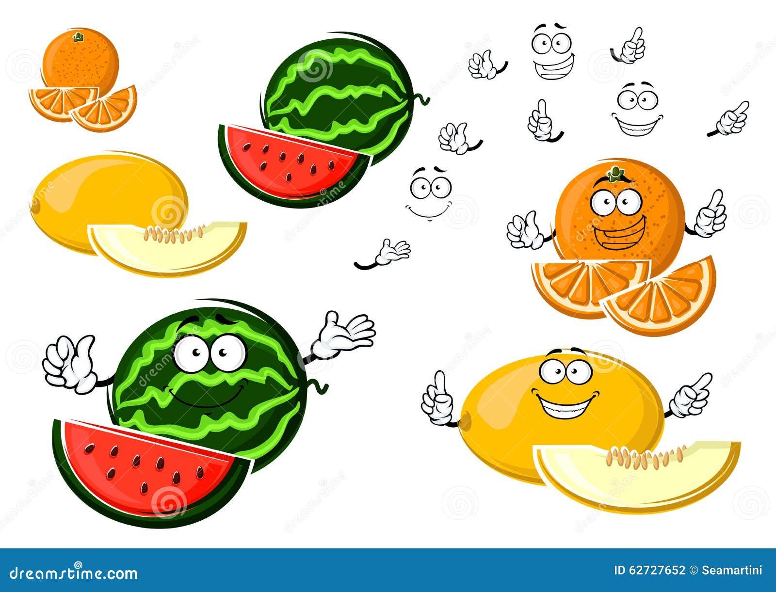 Fruits mûrs de melon, d orange et de pastèque