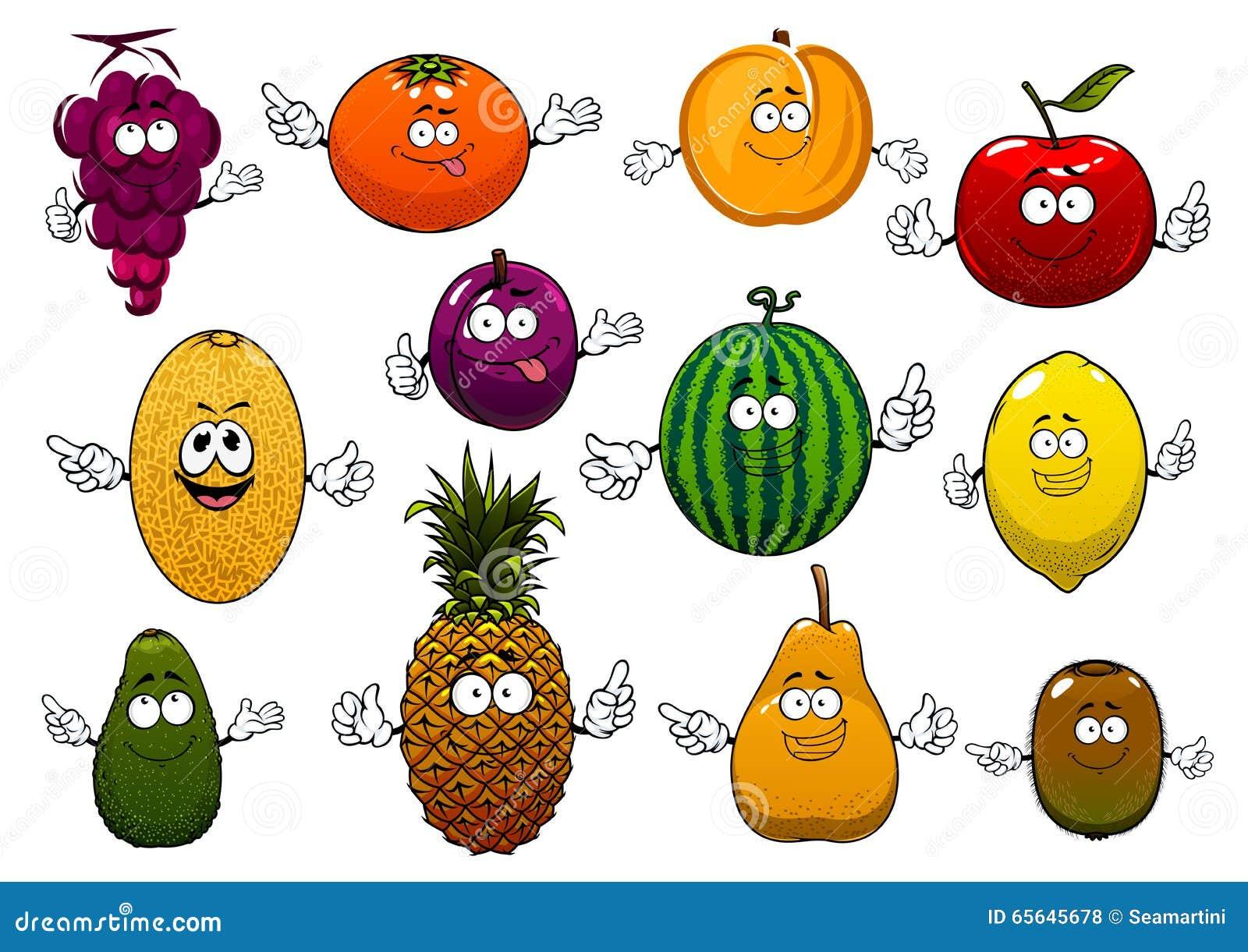 Fruits mûrs et frais heureux de bande dessinée