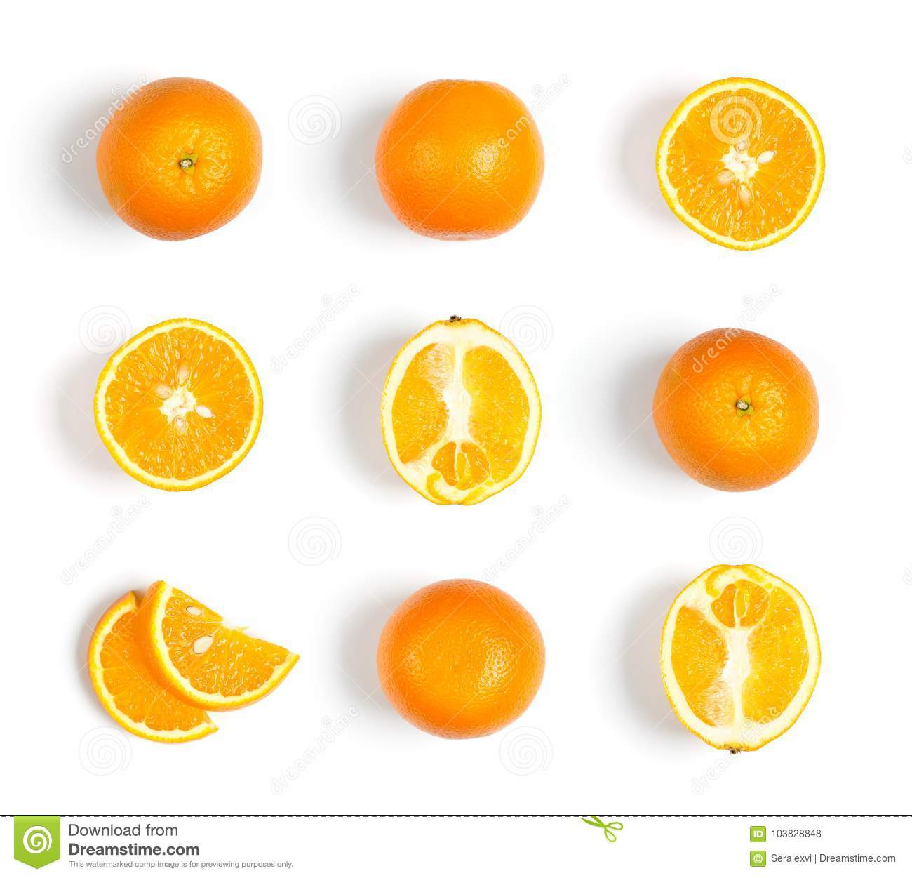 Collection of oranges on white background