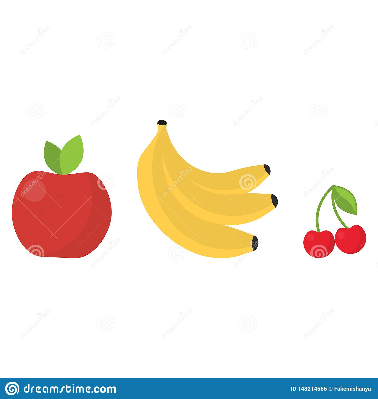 Cute bright colors of fruits vector collections.