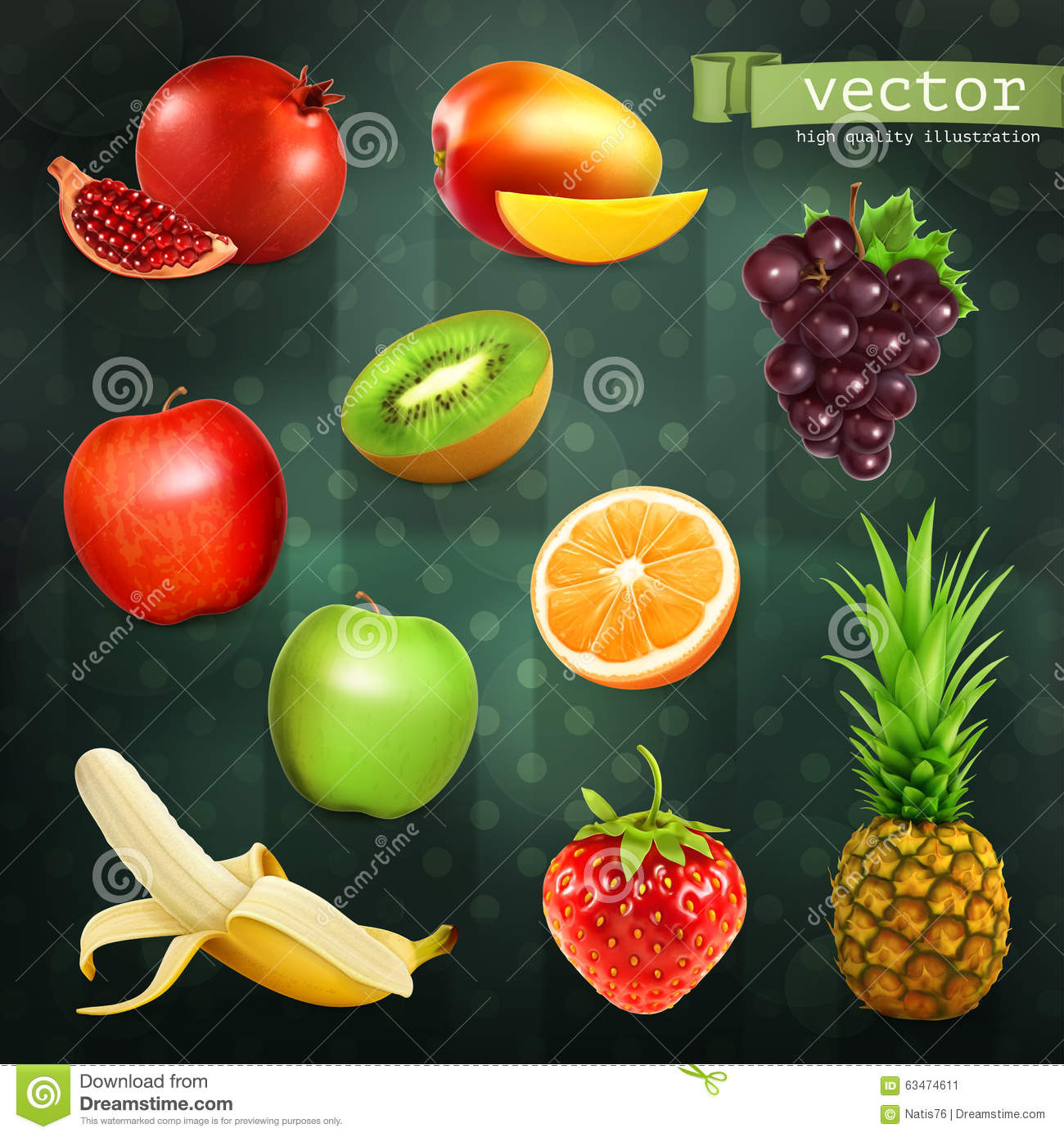vector fruits and vegetables circle white black icon set