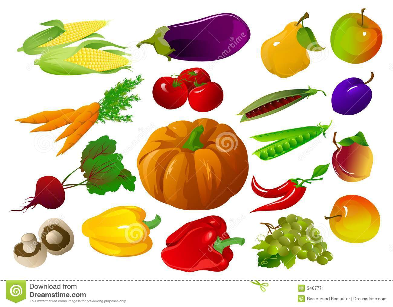 Fruits And Vegetables Stock Vector Illustration Of