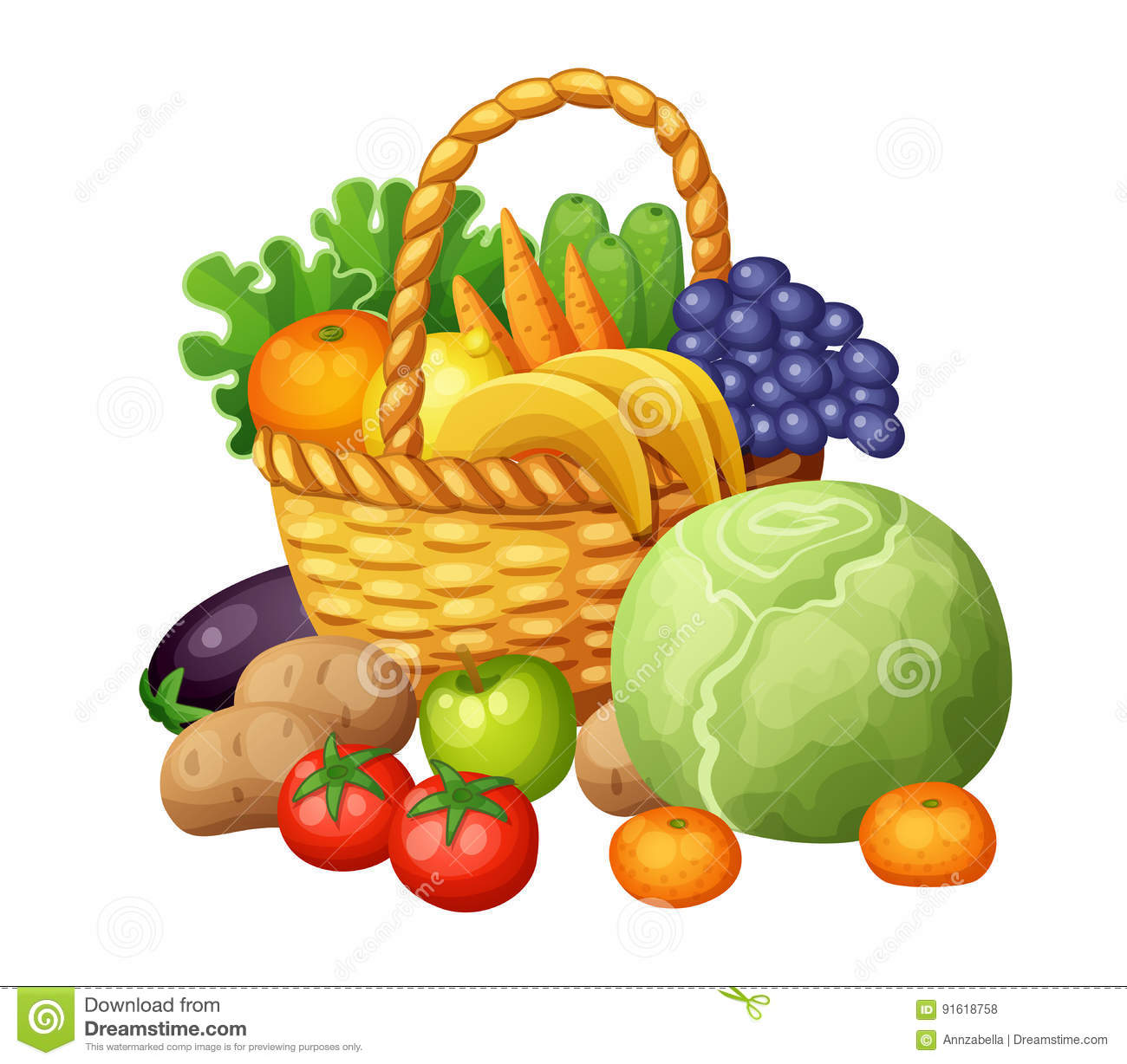 Fruits And Vegetables In The Basket. Cartoon Vector