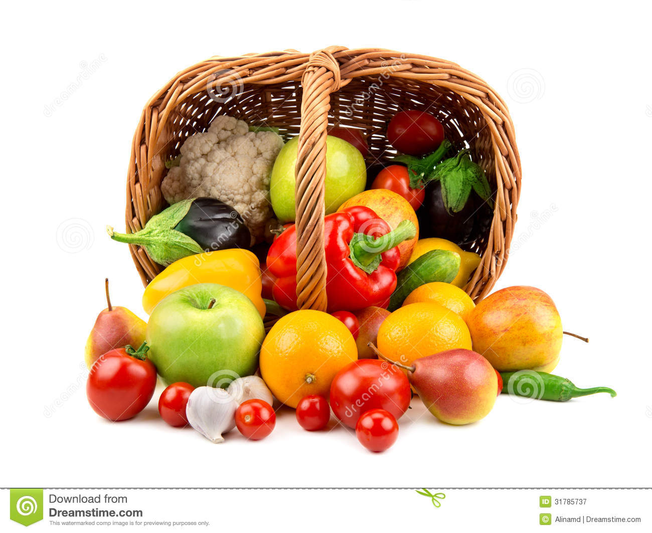 Fruits And Vegetables In A Basket Royalty Free Stock Photography - Image: 31785737
