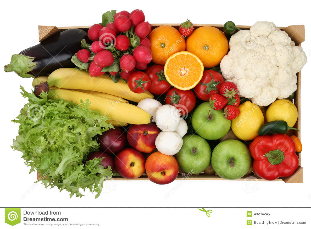 fruits and vegetables in box from above isolated stock image image 43234245. Black Bedroom Furniture Sets. Home Design Ideas