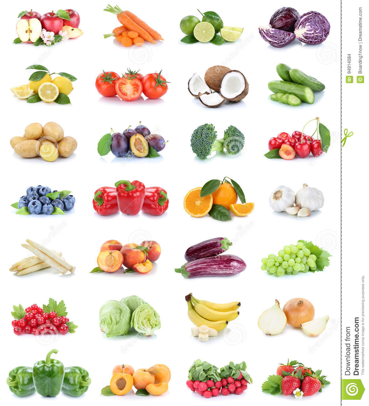 Fruits and vegetables collection apples oranges bell pepper strawberries bananas vegetable food isolated