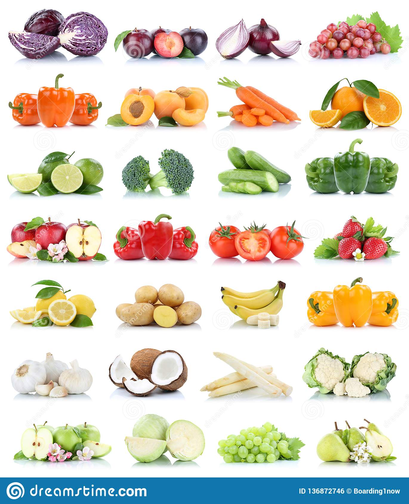 Fruits And Vegetables Collection Isolated Apple Cabbage ...