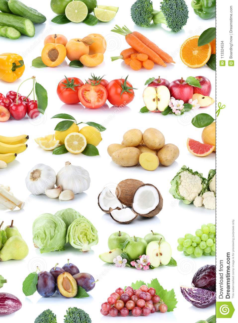 fruit grapes lemons banana fruits tomatoes vegetables apples oranges isolated colors background collection bana preview vegetable