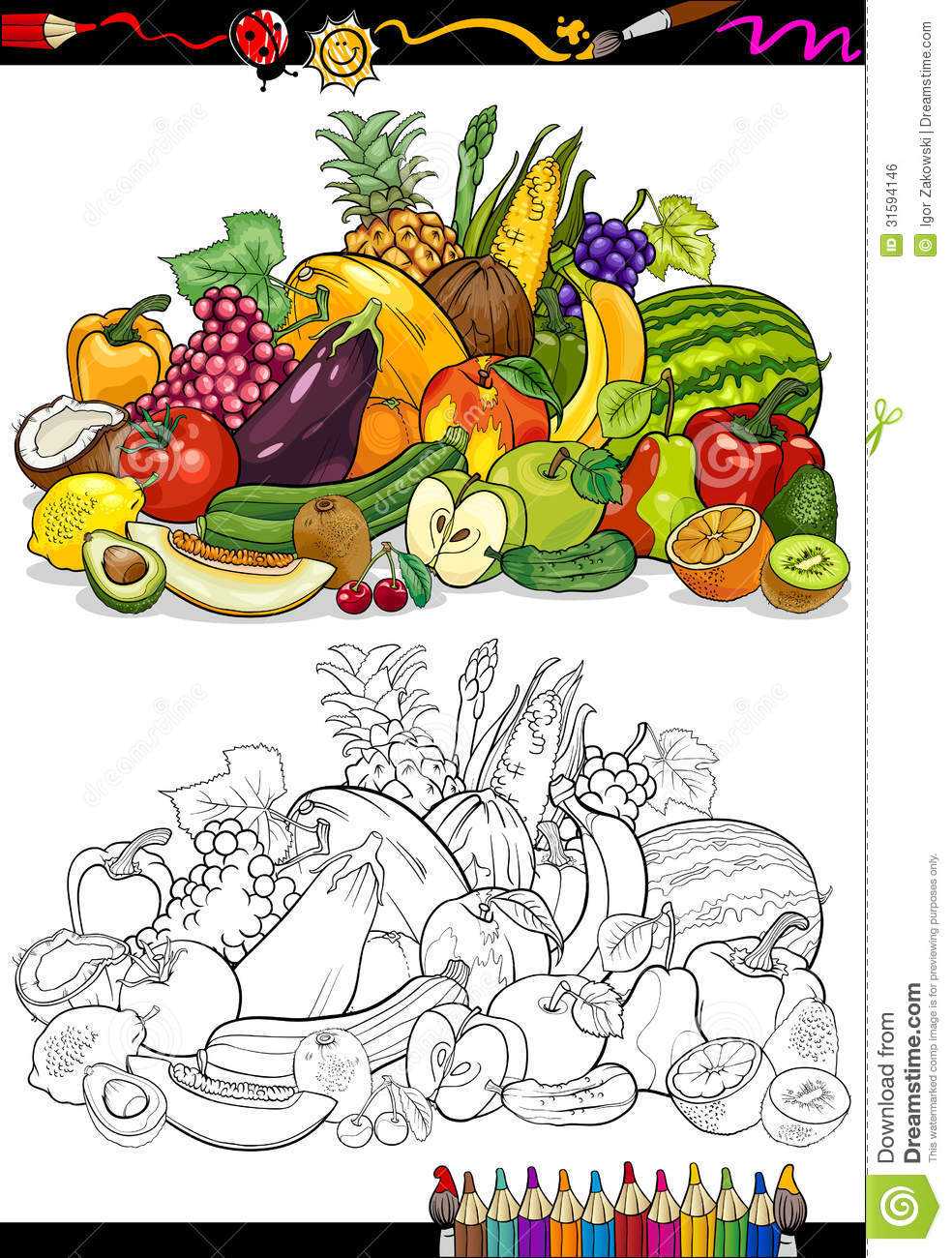 Fruits And Vegetables For Coloring Book Stock Vector Illustration Of Cherry Game 31594146