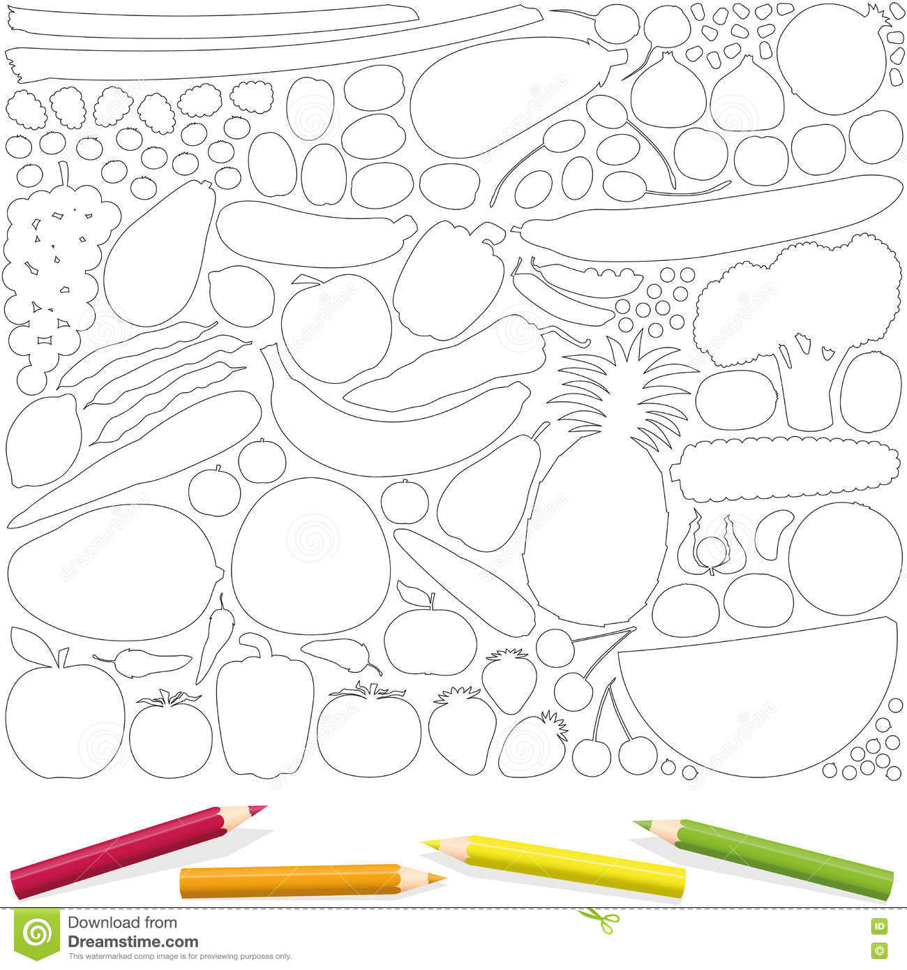 Fruits Vegetables Coloring Page Picture Template Stock Vector ...