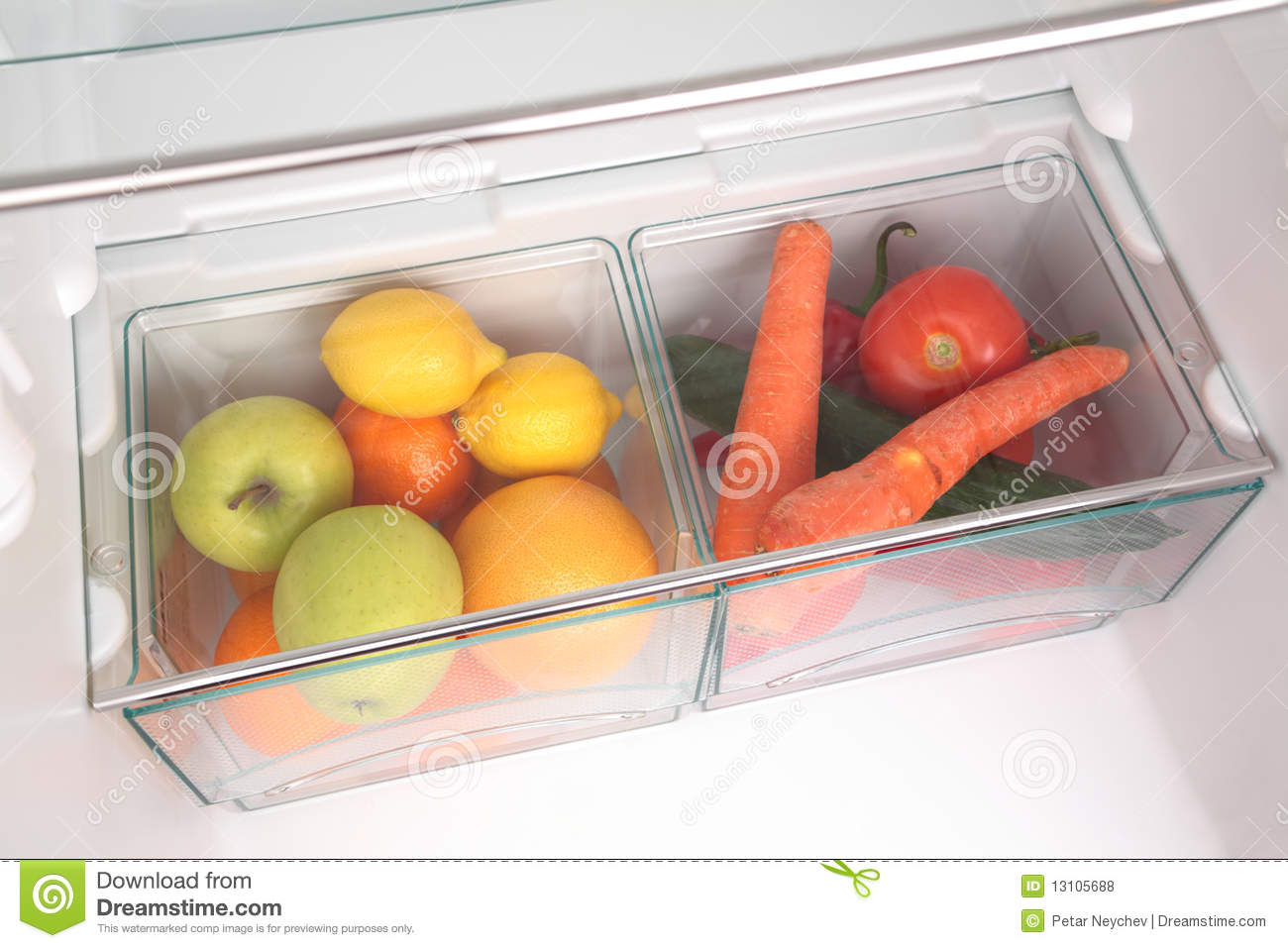 Fruits And Vegetables In Fridge Stock Photo Image Of
