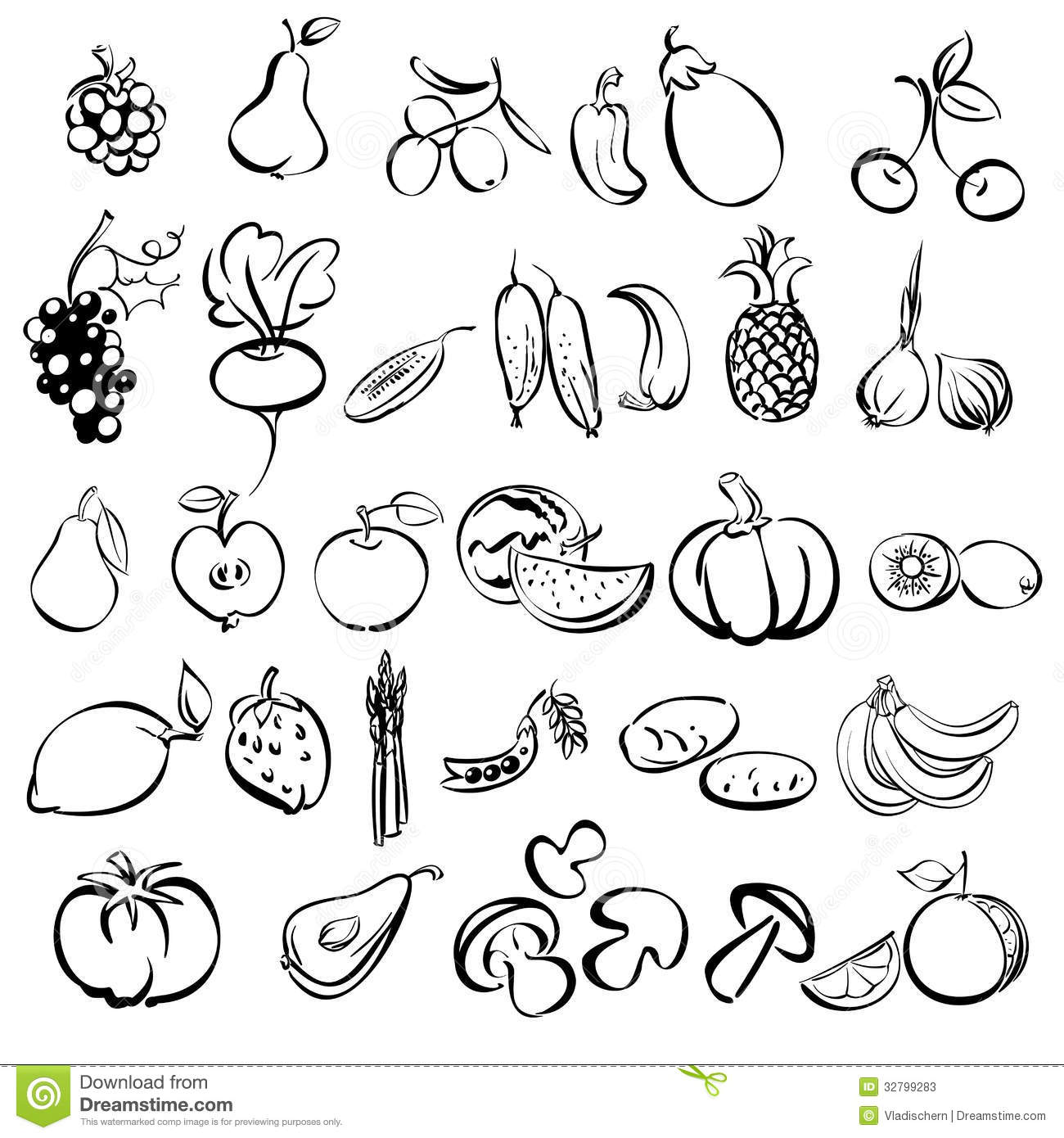 Fruits And Vegetables Icon Set Sketch Stock Photos Image 32799283