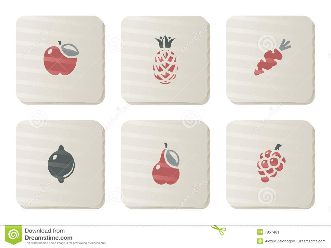 Fruits and Vegetables icons   Cardboard series