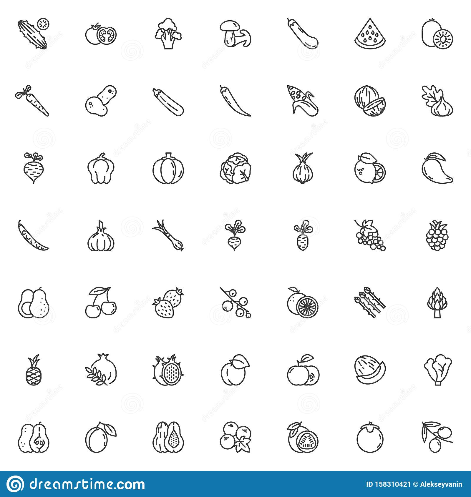 Fruits and vegetables line icons set