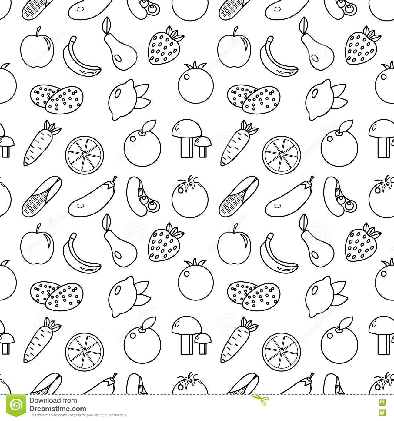 fruits and vegetables line style seamless pattern fruits and vegetables doodle seamless pattern fruits and vegetables outline ba