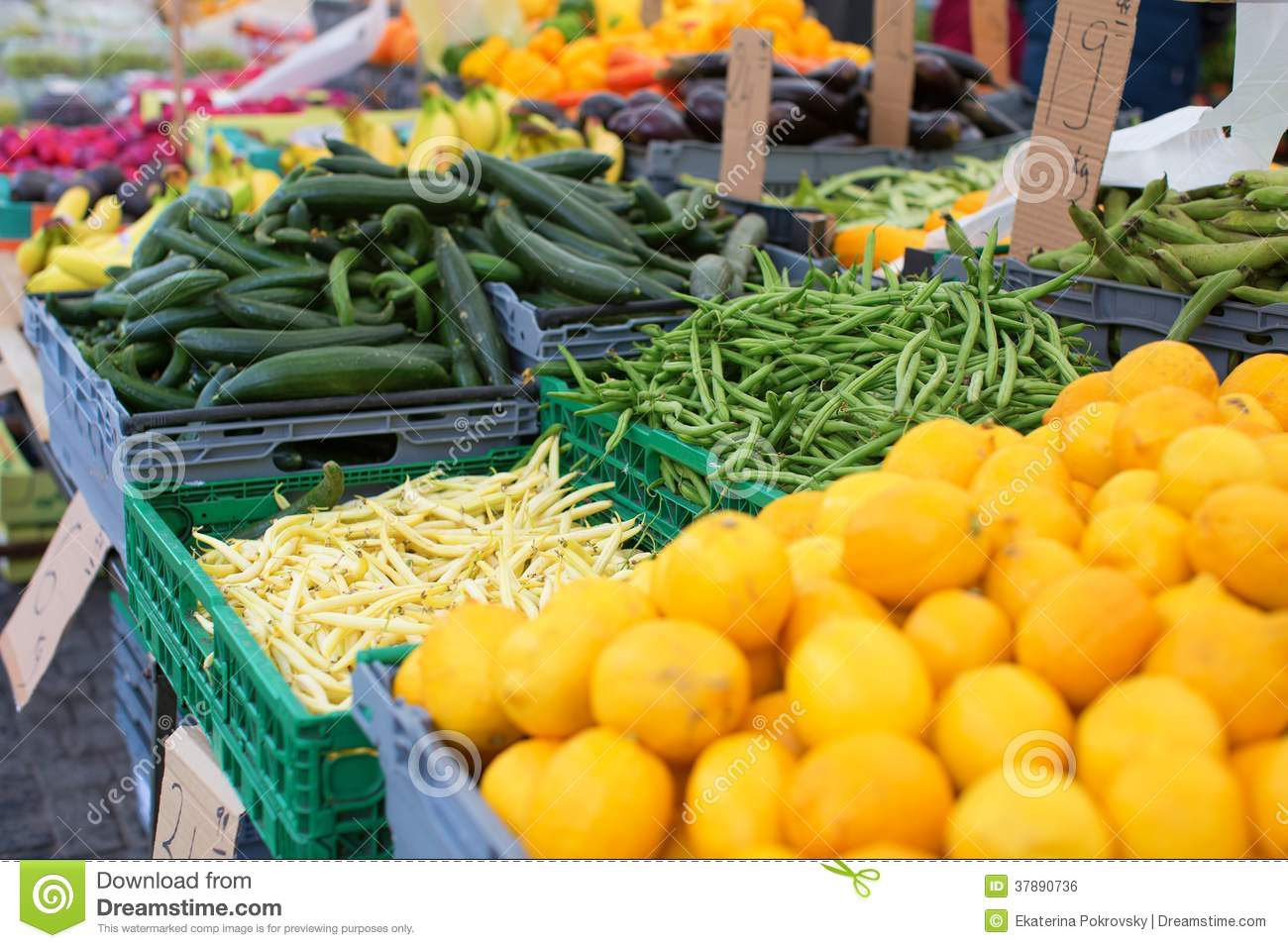 Fruits and vegetables on market