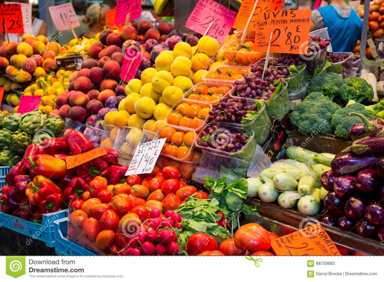 Fruits and Vegetables in Spanish Market