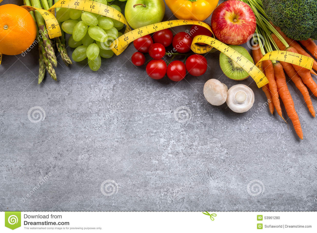 Stupendous Fruits Vegetables And Tape Measure In Diet Stock Photo Download Free Architecture Designs Scobabritishbridgeorg